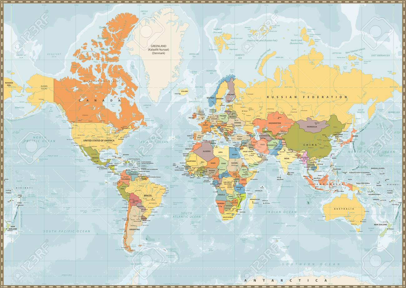 Political World Map Vintage Color With Lakes And Rivers And Labeling
