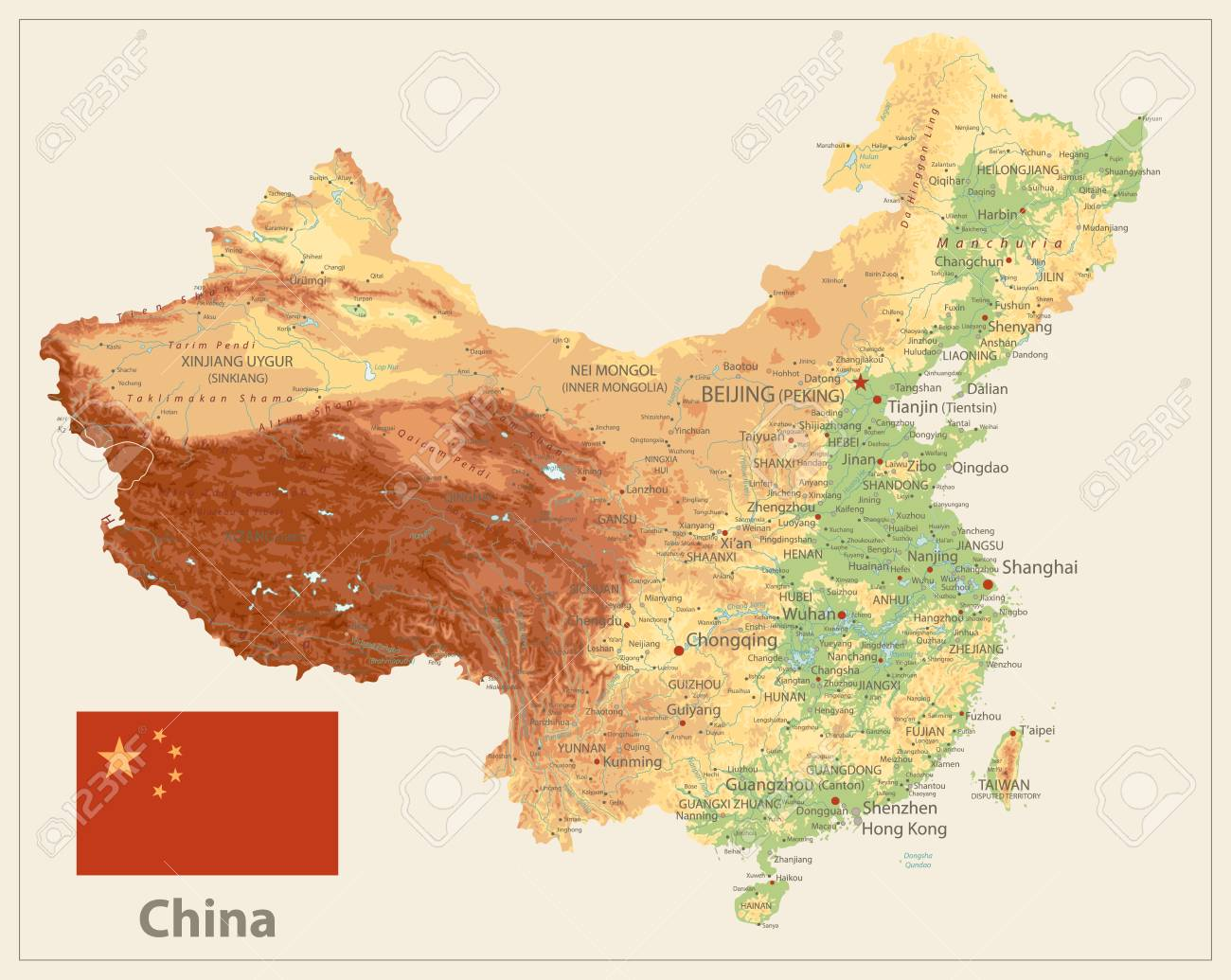 Image of: China Physical Map Isolated On Retro White Color High Detailed Royalty Free Cliparts Vectors And Stock Illustration Image 113794664