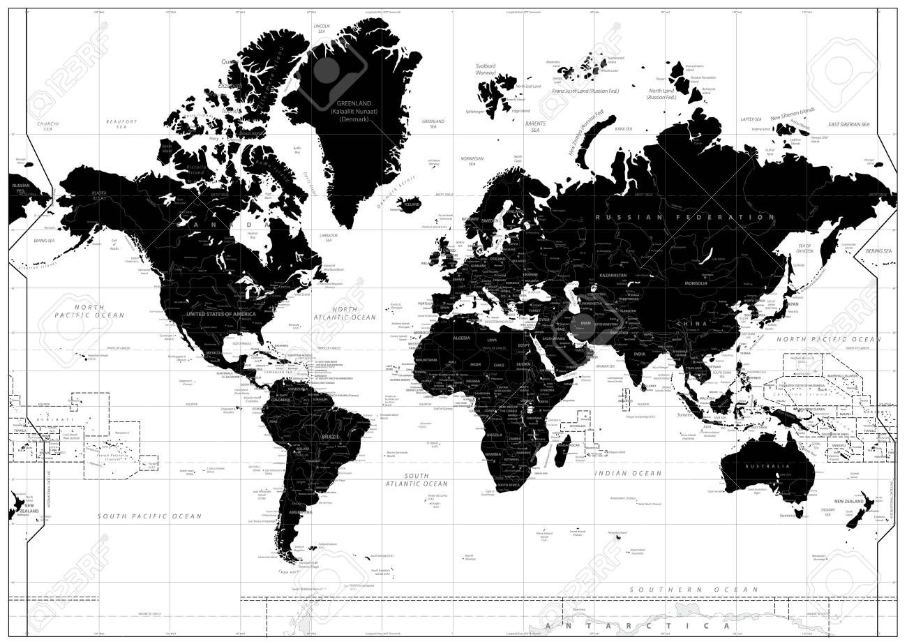 black world map isolated on white highly detailed map illustration Mecca On World Map black world map isolated on white highly detailed map illustration with countries cities and