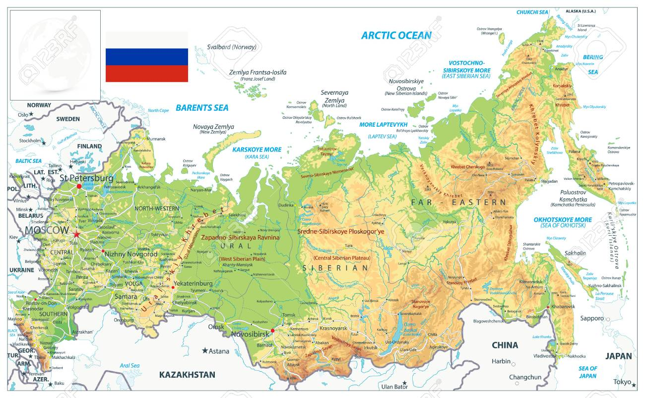 Image of: Russia Physical Map Isolated On White Highly Detailed Map Vector Royalty Free Cliparts Vectors And Stock Illustration Image 126811014