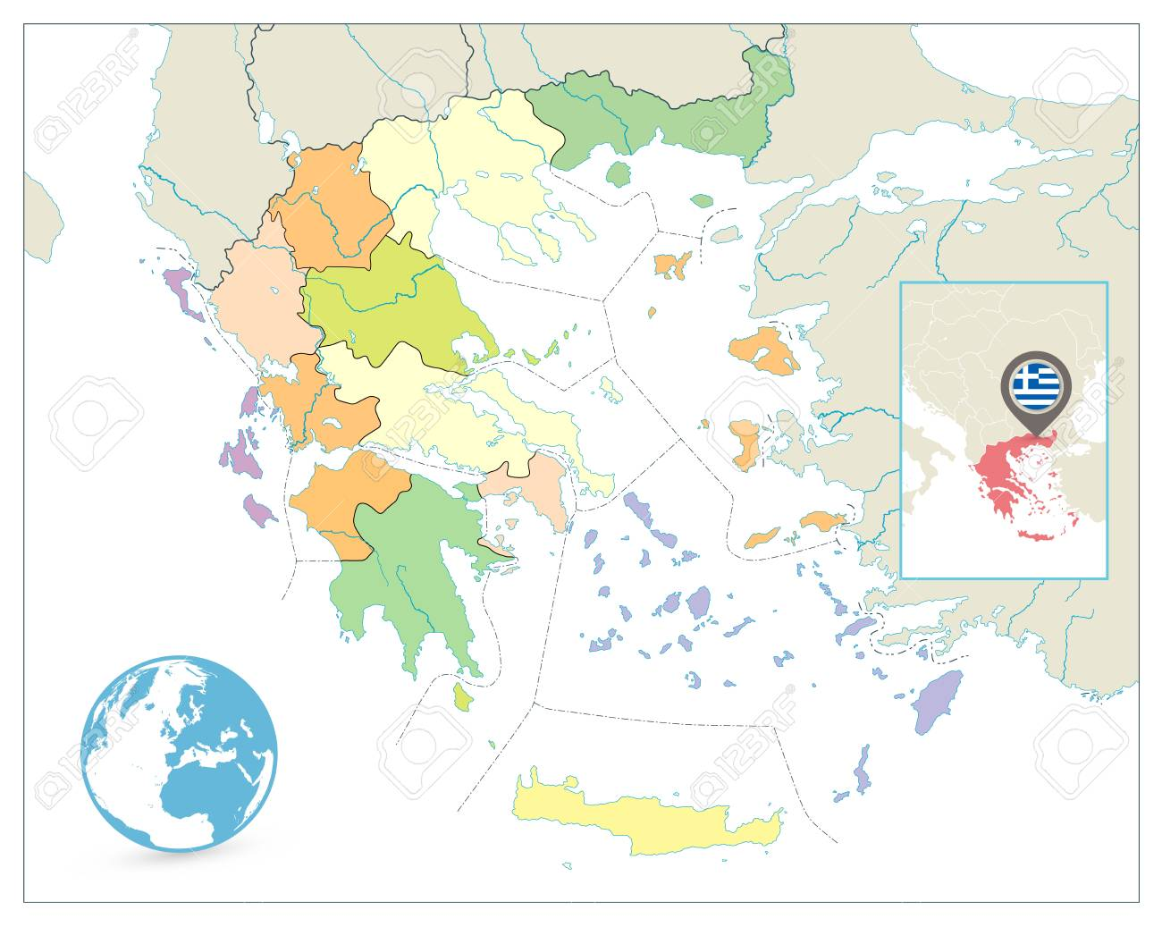 Greece Political Map Isolated On White No Text Detailed Vector