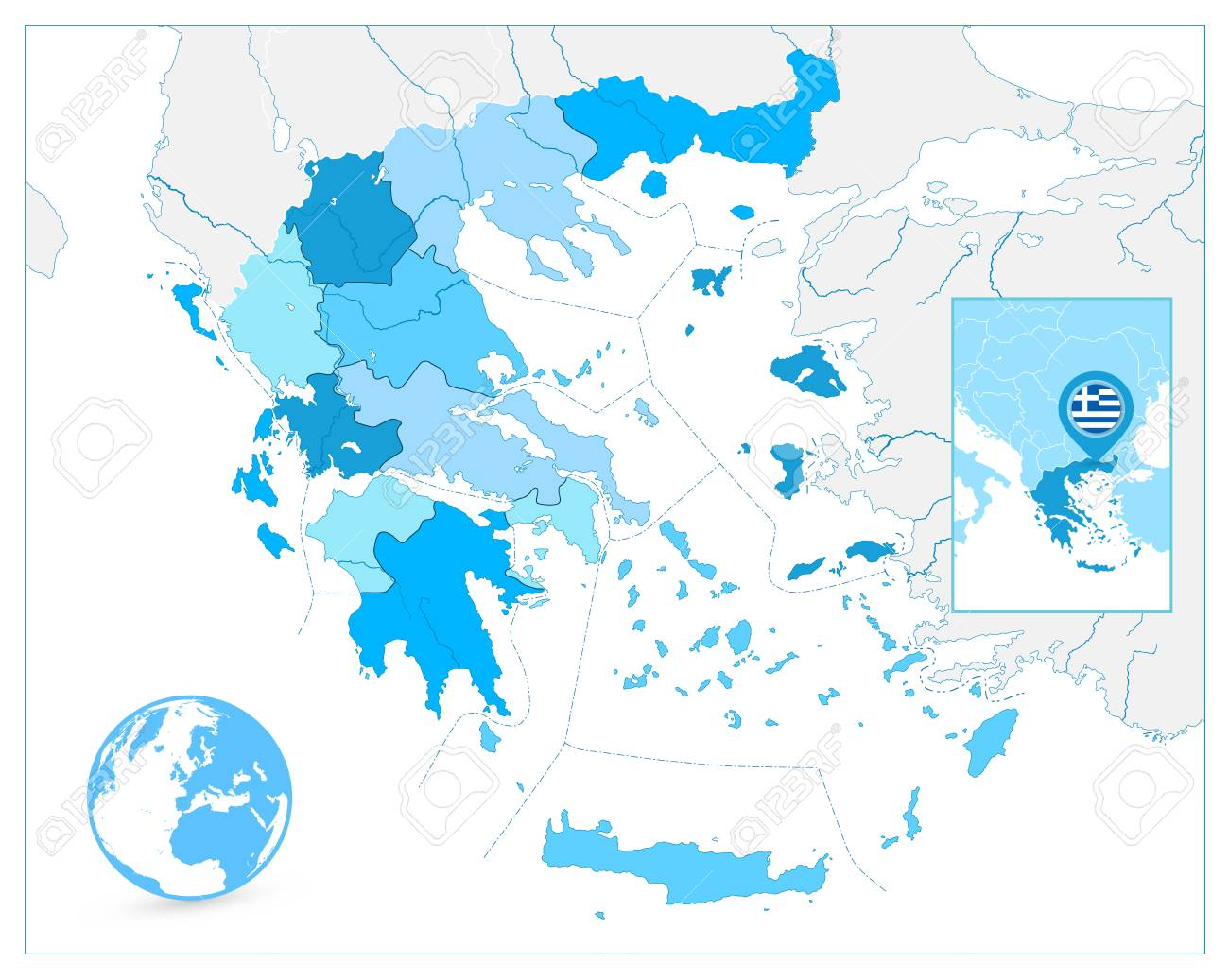 Greece Map In Colors Of Blue. No Text. Detailed Vector Map Of ...