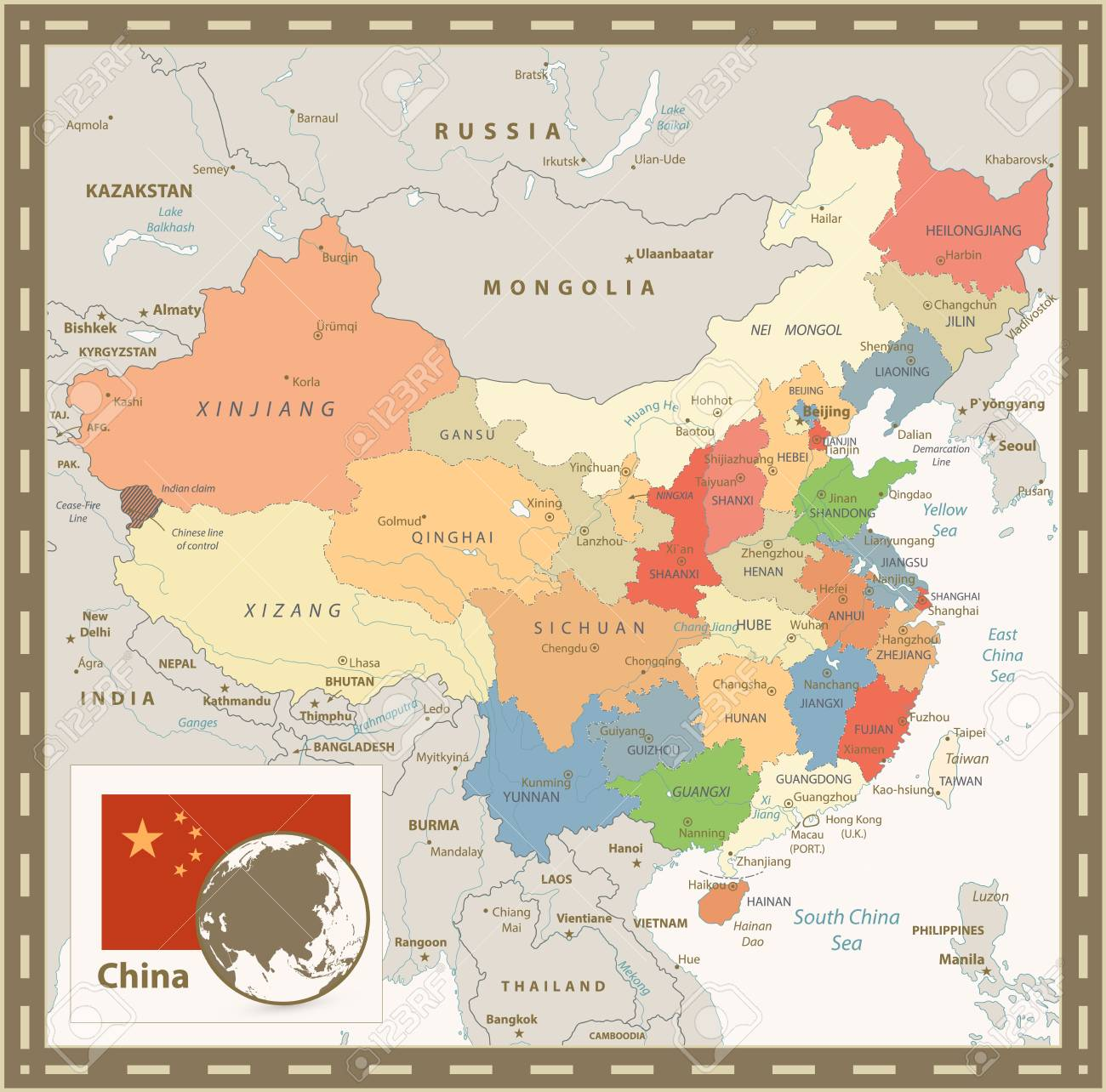 China Political Map. Retro Color. Detailed Vector Map Of China With on