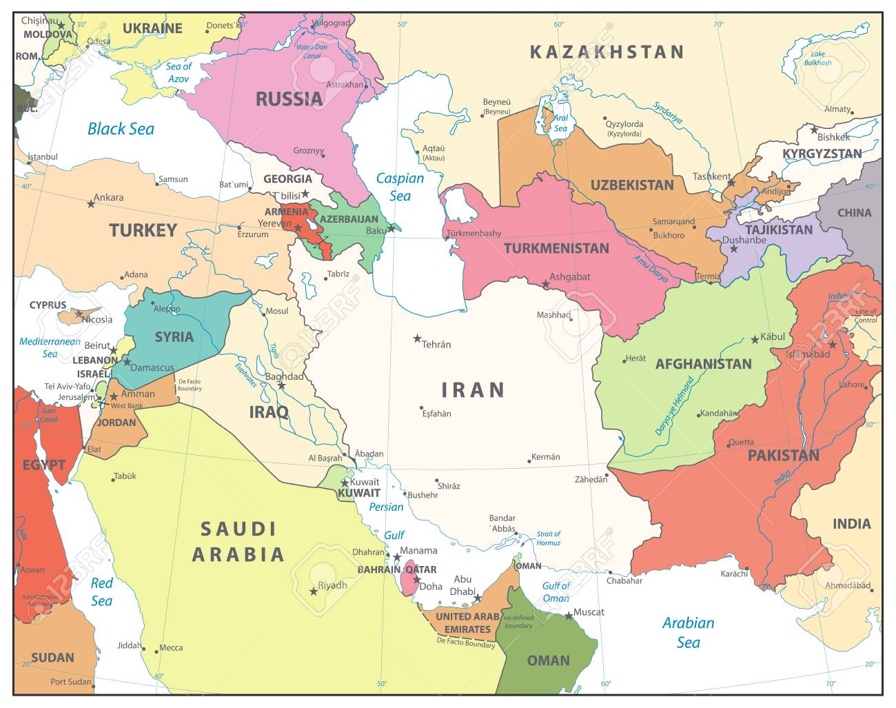 Southwest Asia Map. Isolated on white. Detailed vector map of..