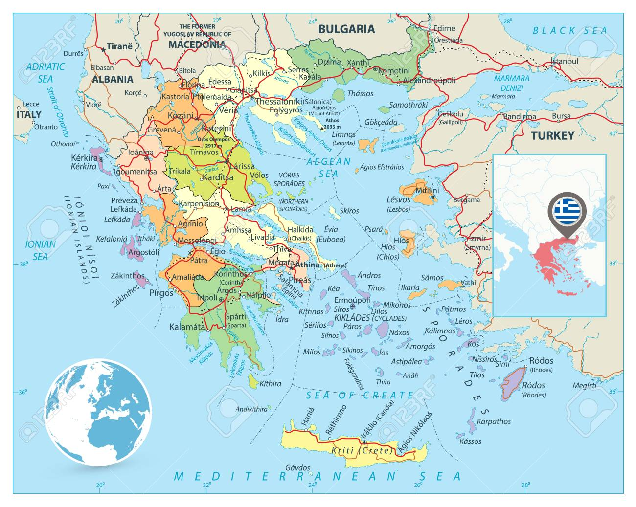 Greece Political Map Detailed Vector Map Of Greece With Roads