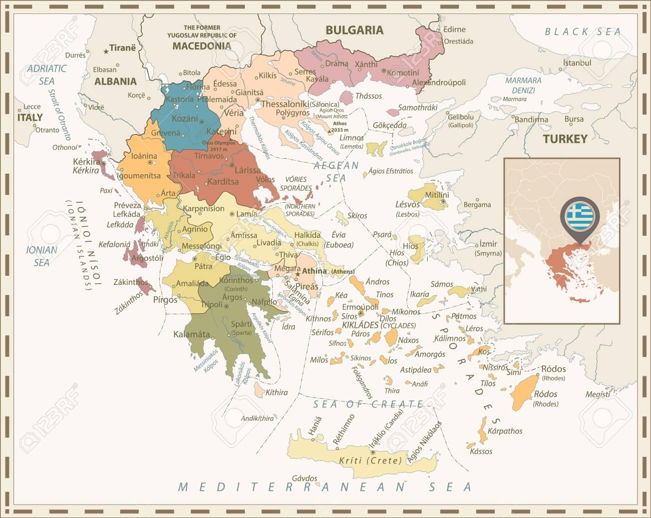 Greece Political Map Retro Colors. Detailed vector map of Greece. - 113964013
