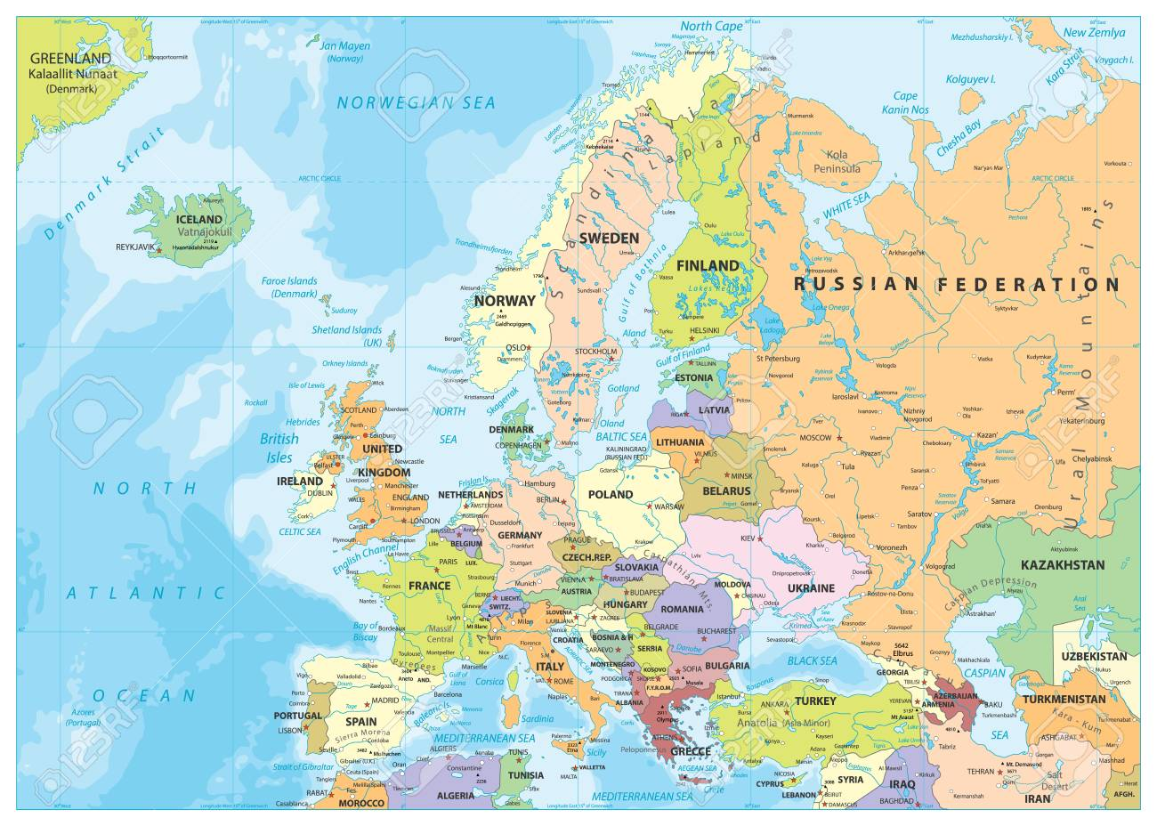 Image of: Europe Political Map And Bathymetry Detailed Vector Illustration Royalty Free Cliparts Vectors And Stock Illustration Image 126811054