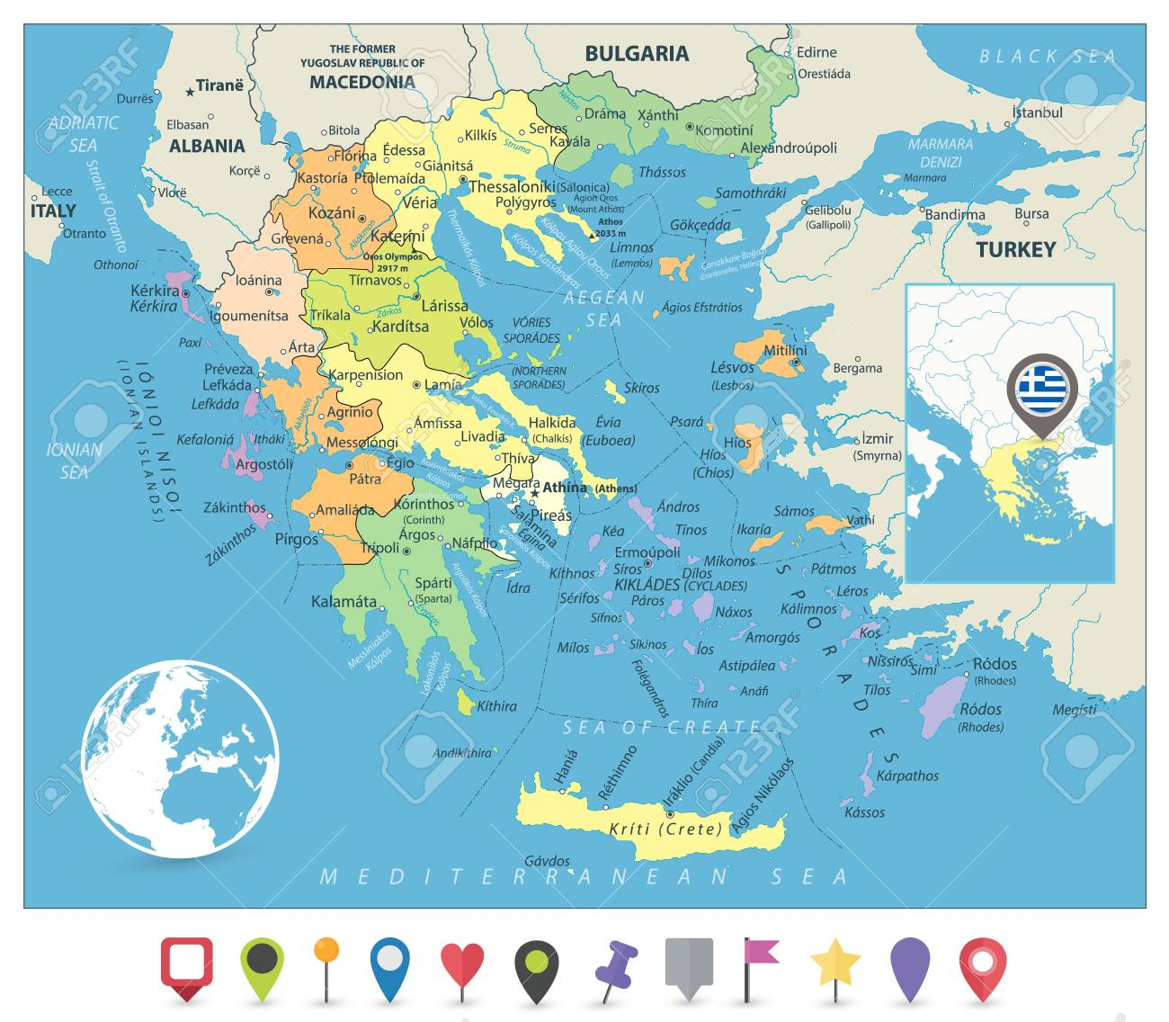 Greece Political Map And Flat Map Markers Detailed Vector Map