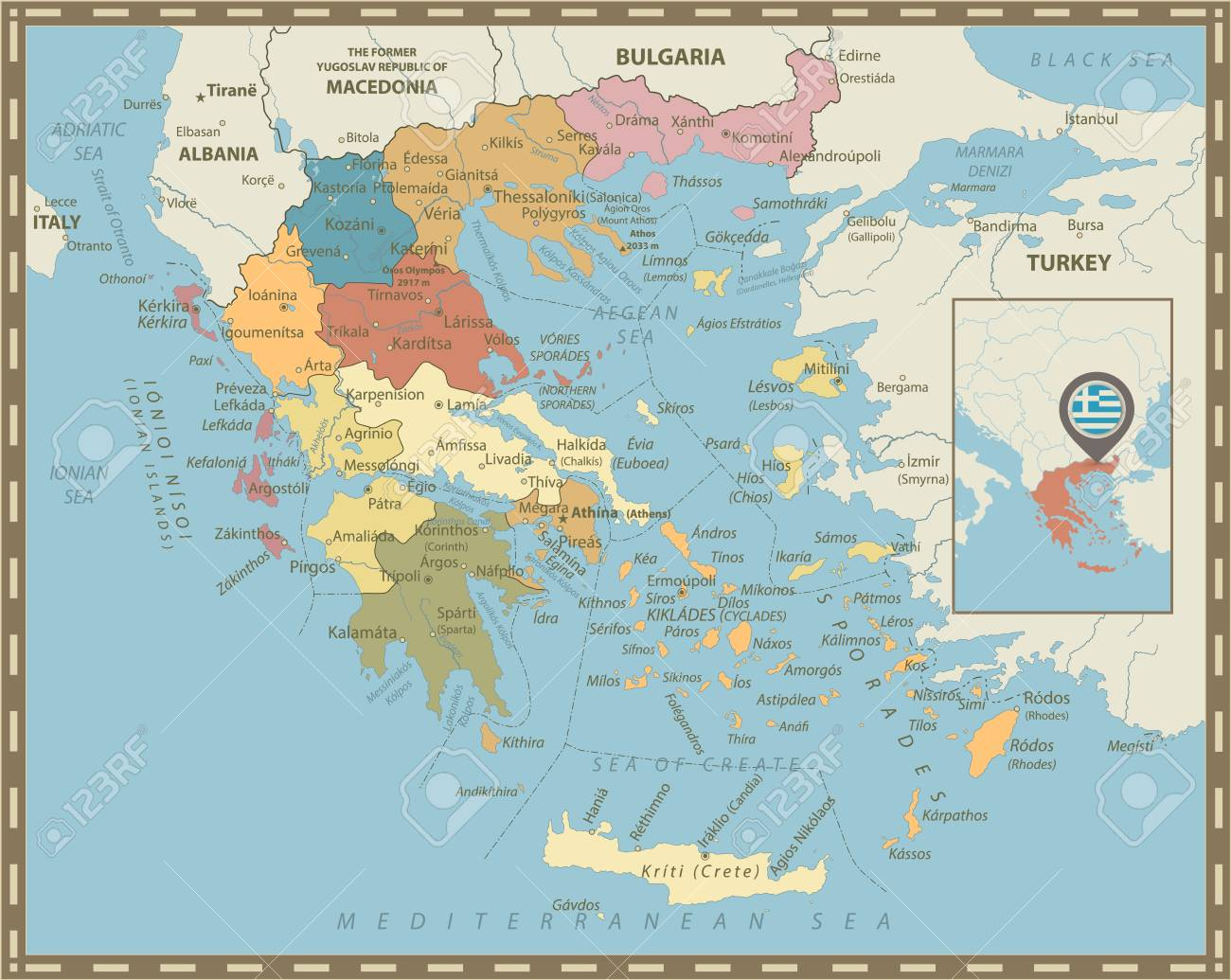 Greece Political Map Vintage Colors Detailed Vector Map Of Greece