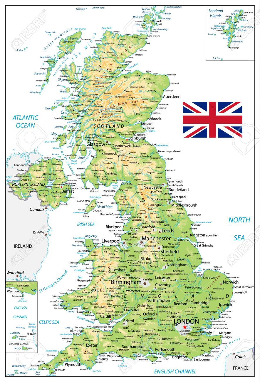 United Kingdom Physical Map with city names isolated on white