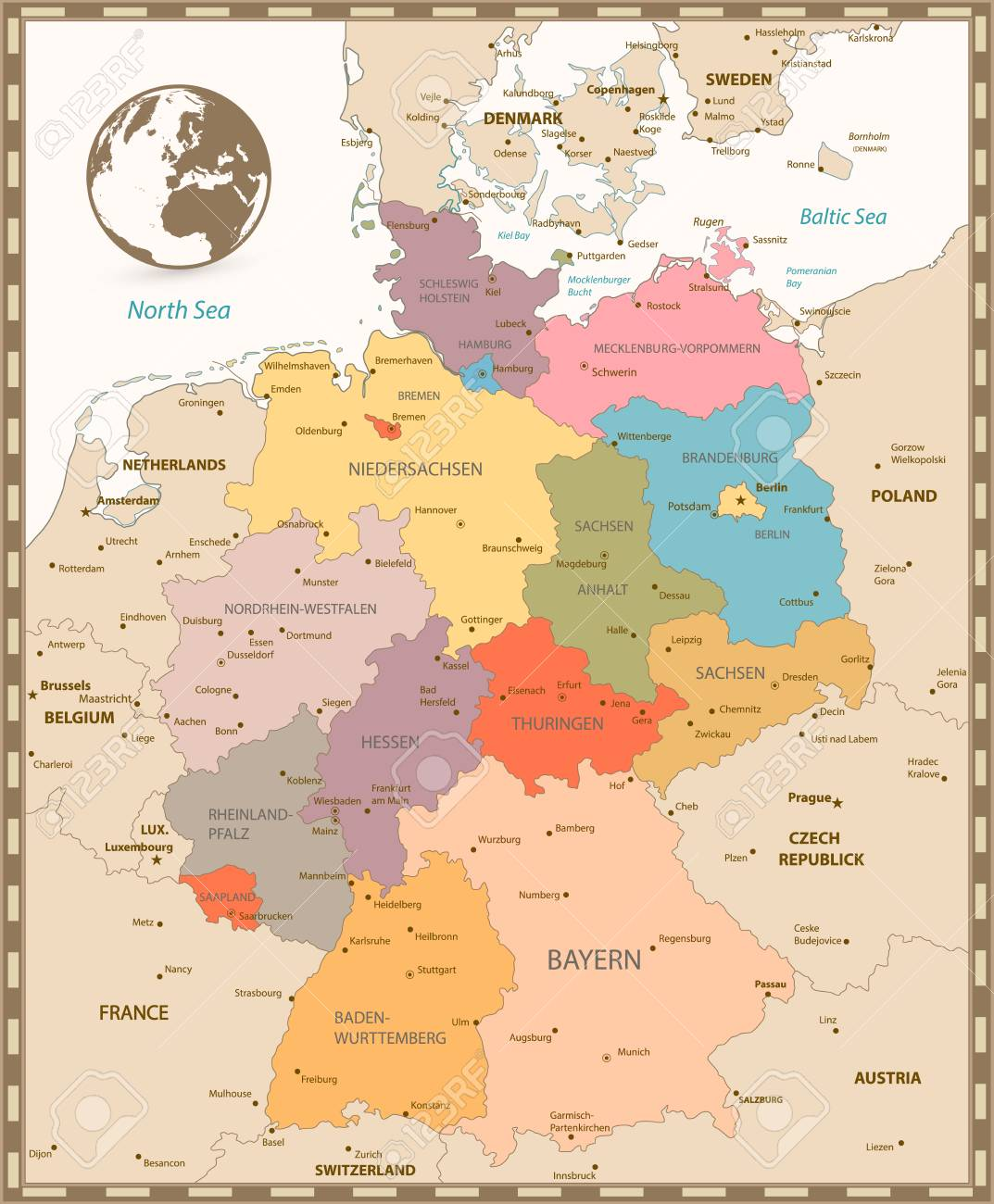 Map Of Old Germany.Old Retro Color Map Of Germany Vector Illustration Royalty Free