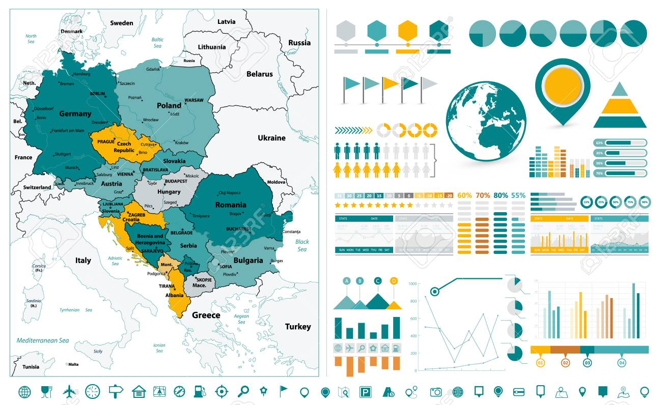 Central Europe Map And Infographic Design Elements. On White ...