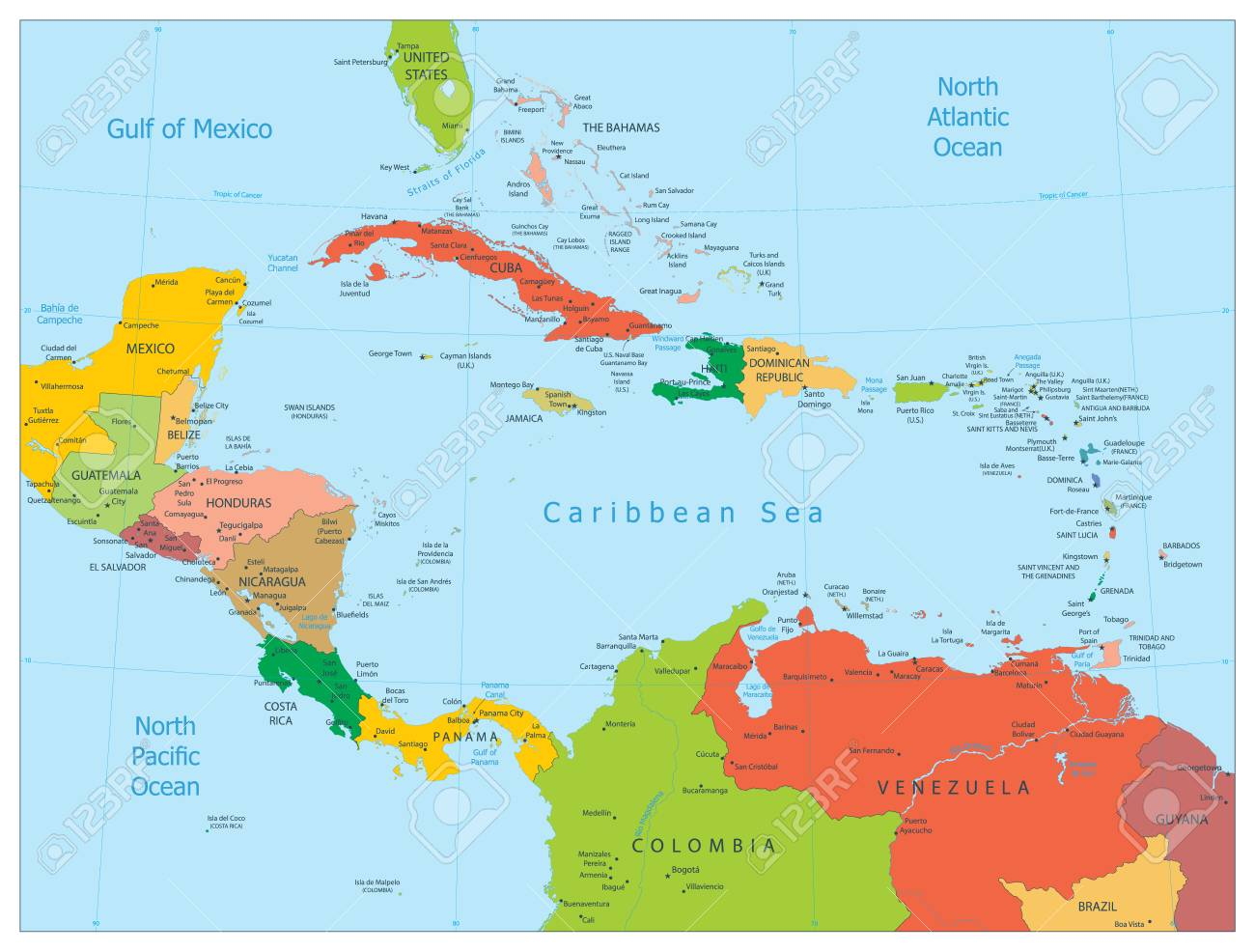 Map Of The Caribbean. Highly Detailed Vector Illustration ...
