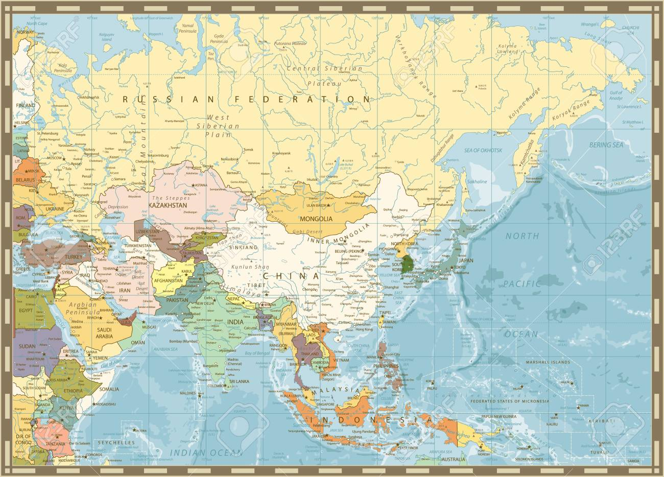 Map Of Asia Rivers.Old Retro Map Of Asia And Bathymetry With Rivers Lakes And Elevations