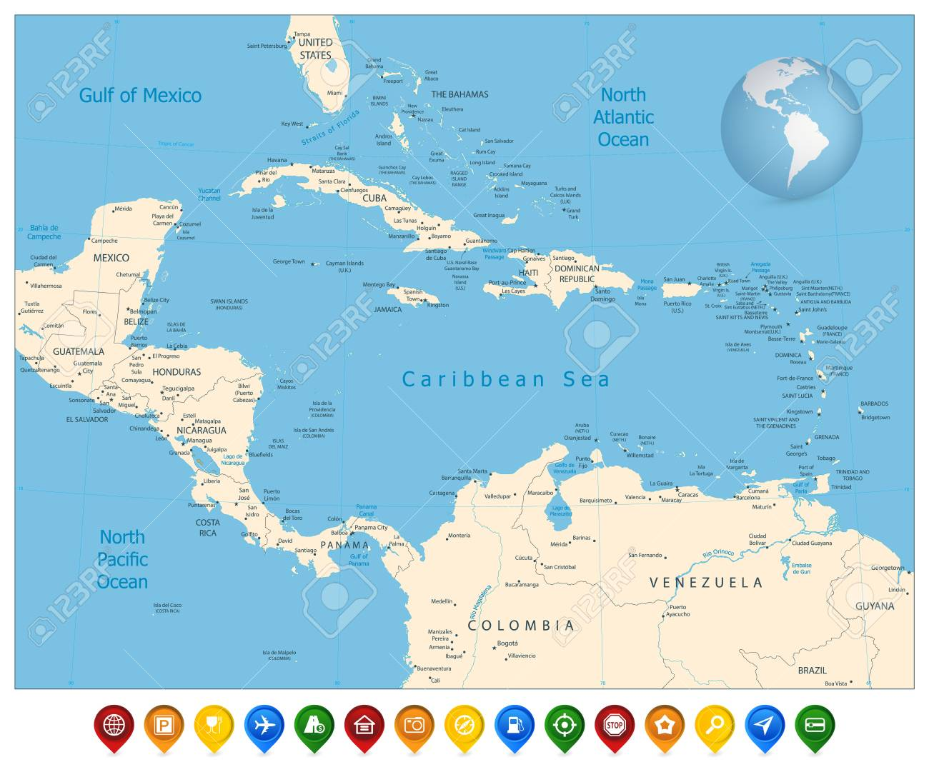 Political Map Of The Caribbean And Colorful Map Markers. Highly ...