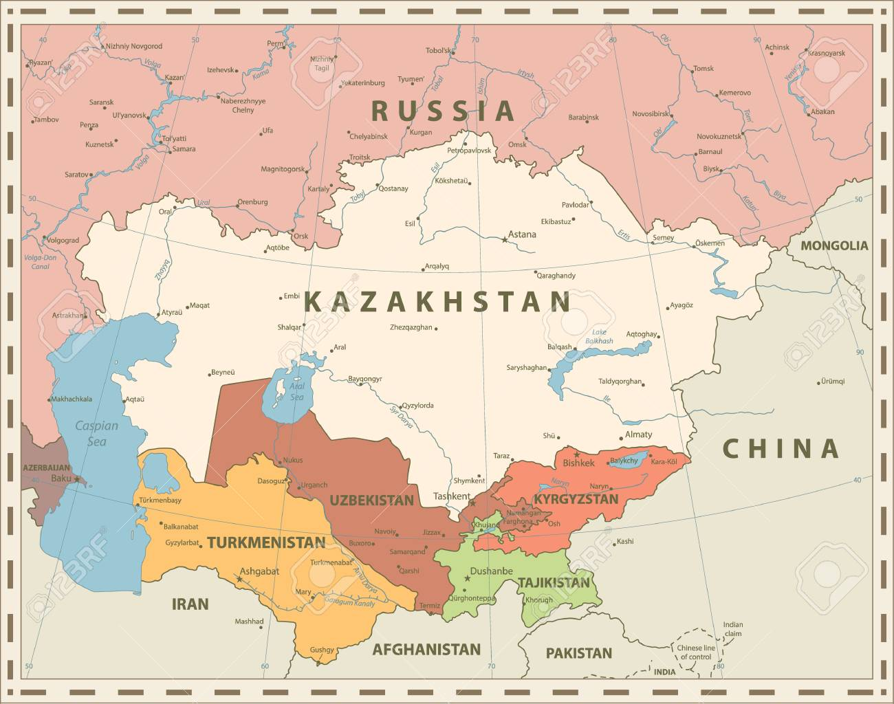 Central Asia Political Map Retro Colors Vector Illustration