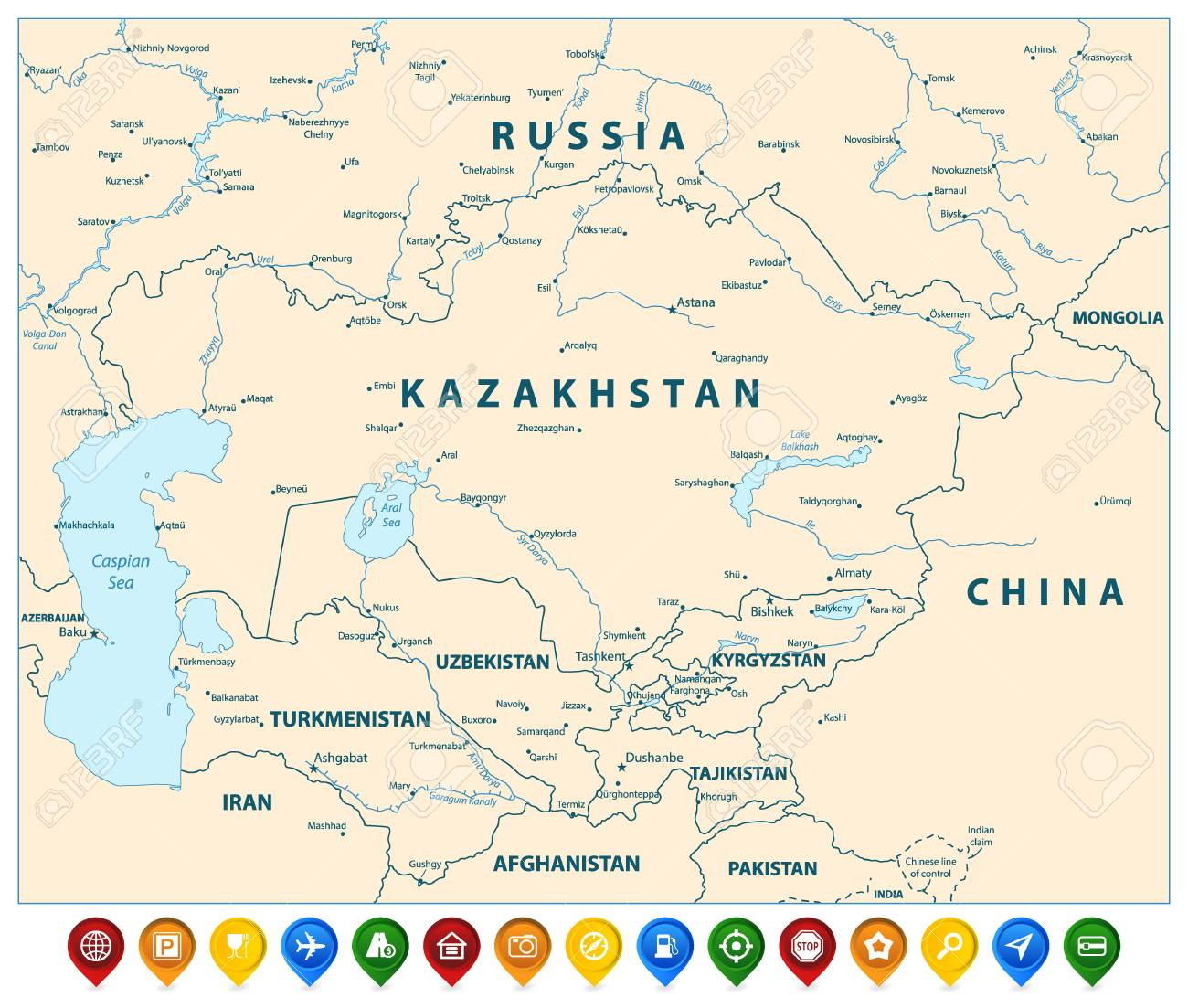 Central Asia Political Map and Colorful Map Pointers. Vector..