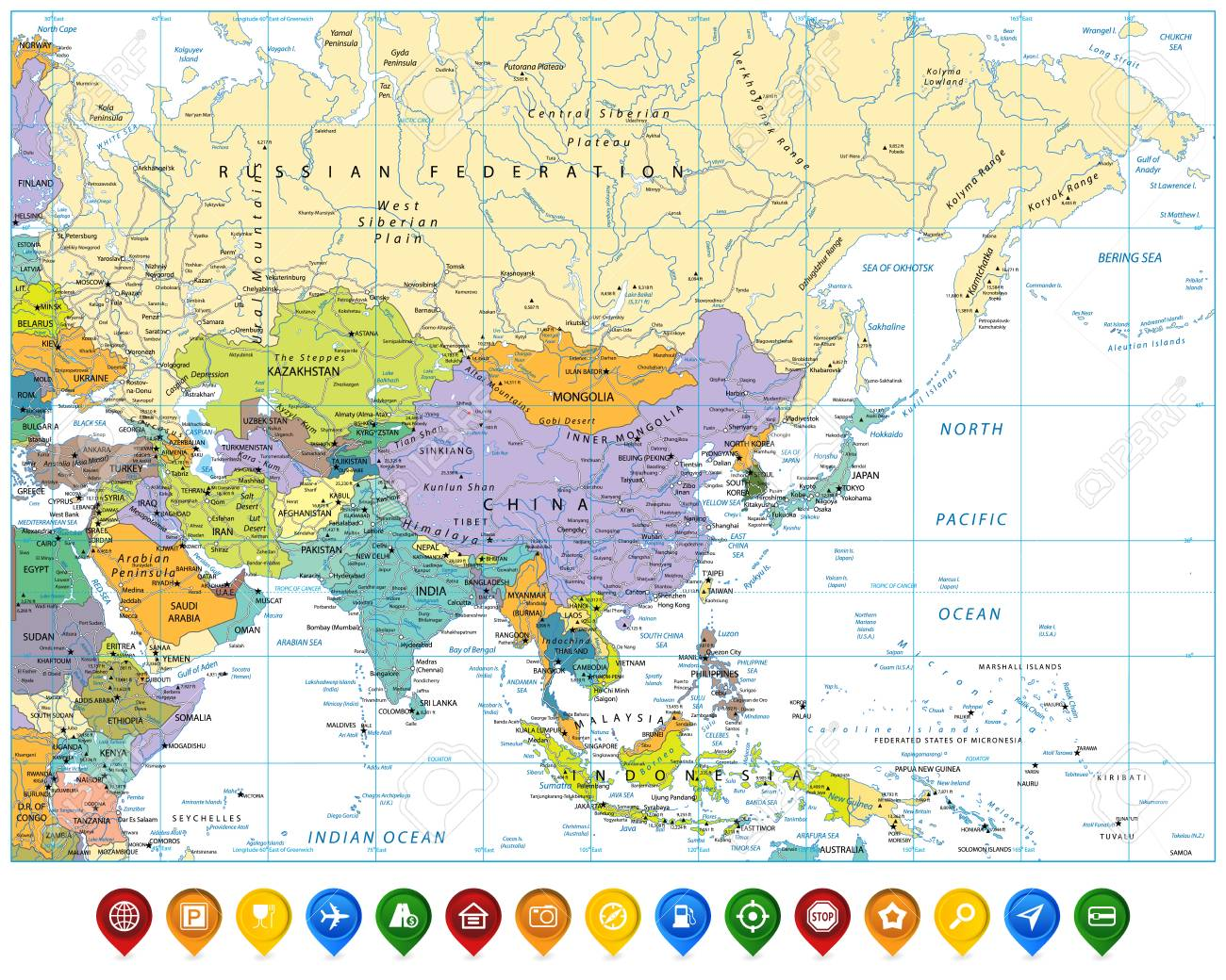 Picture of: Colored Asia Map And Colorful Map Pointers With Roads Rivers Royalty Free Cliparts Vectors And Stock Illustration Image 126811515