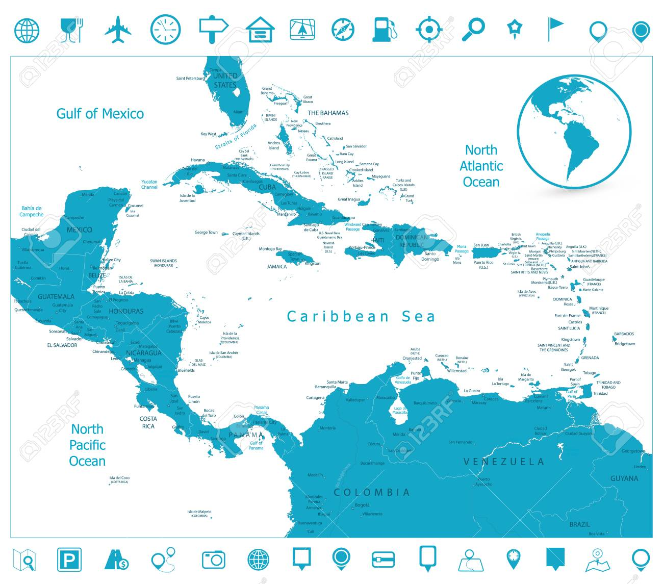 Map Of The Caribbean And Navigation Icons. Highly Detailed Vector ...