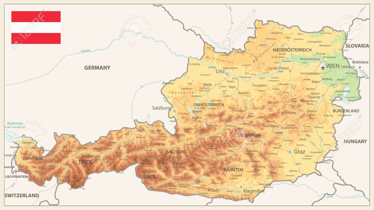 Picture of: Austria Physical Map Vintage Colors Detailed Map Of Austria Royalty Free Cliparts Vectors And Stock Illustration Image 123355978