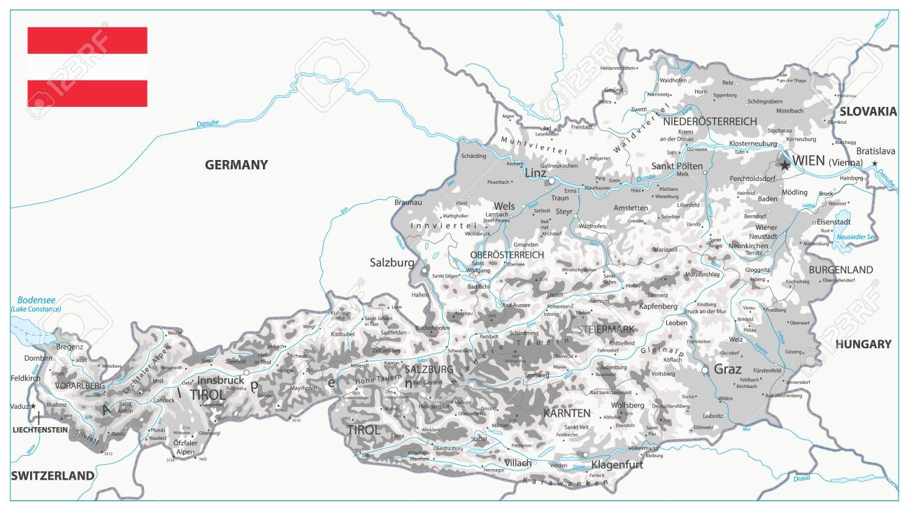 Austria Physical Map White And Grey Detailed Map Of Austria Royalty Free Cliparts Vectors And Stock Illustration Image 123355979