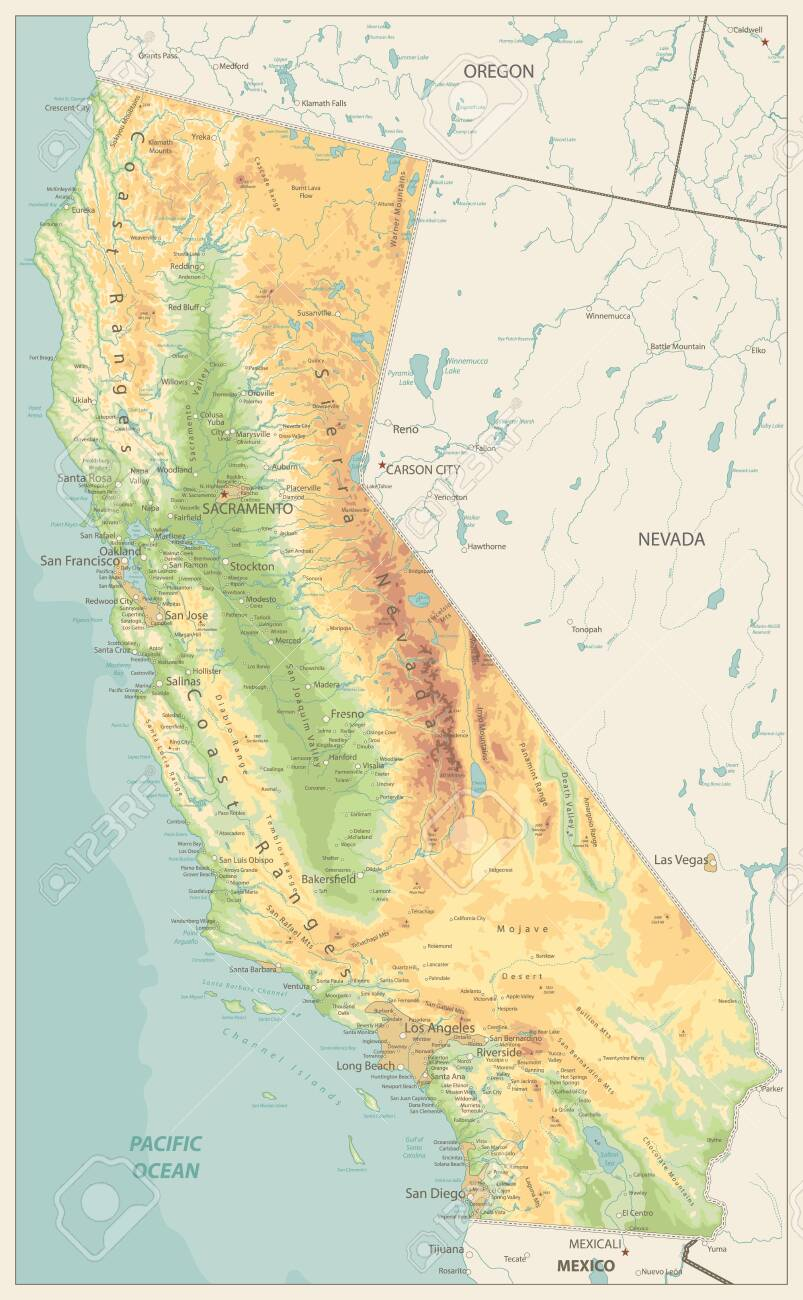 California Physical Map Retro Colors Highly Detailed Relief