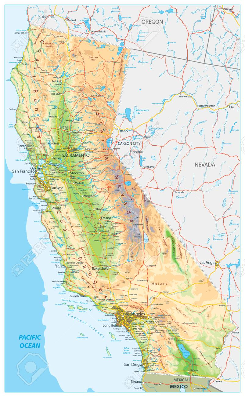California Physical Map Highly Detailed Relief Map Of California