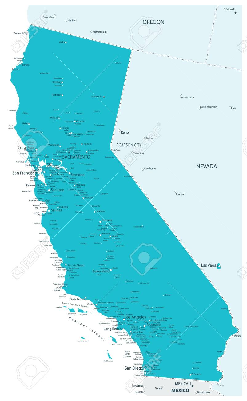 Map of California State Aqua Colors - Highly Detailed Map of..