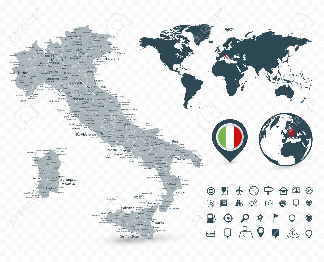 Italy On Map Of World.Italy Map And World Map Isolated On Transparent Background