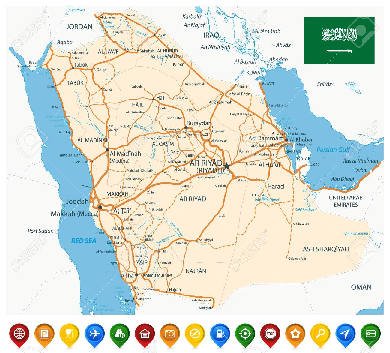 Saudi Arabia Road Map and Colored Map Icons - Image contains.. on dammam road map, eastern australia road map, syria road map, makkah road map, riyadh road map, al riyadh map, jordan country highway map, pakistan road map, gulf gcc map, sinai peninsula road map, nevis road map, montserrat road map, costa rica road map, french guiana road map, brazil road map, st barts road map, mecca road map, paraguay road map, medina road map, palau road map,