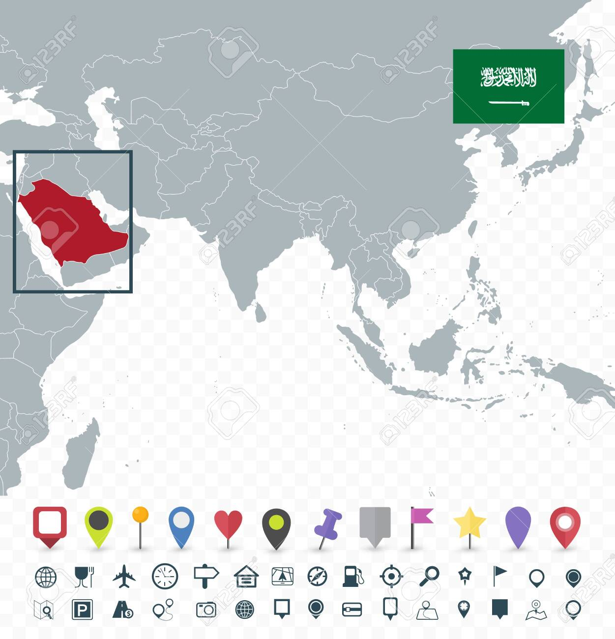 Saudi Arabia location on Asia Map - Transparent background -..