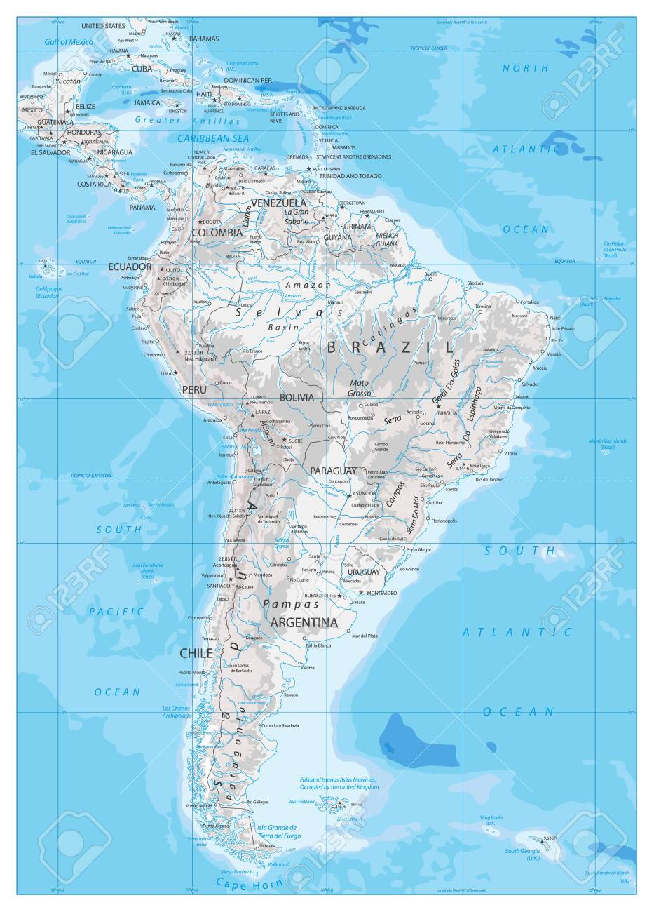 Image of: South America Detailed Physical Map With Global Relief Lakes Royalty Free Cliparts Vectors And Stock Illustration Image 145696918