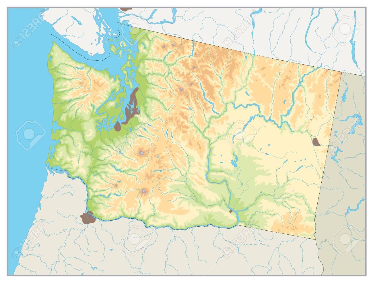 Picture of: Physical Map Of Washington State A Main Relief Rivers Lakes And Highways No Text Ilustraciones Vectoriales Clip Art Vectorizado Libre De Derechos Image 145745726