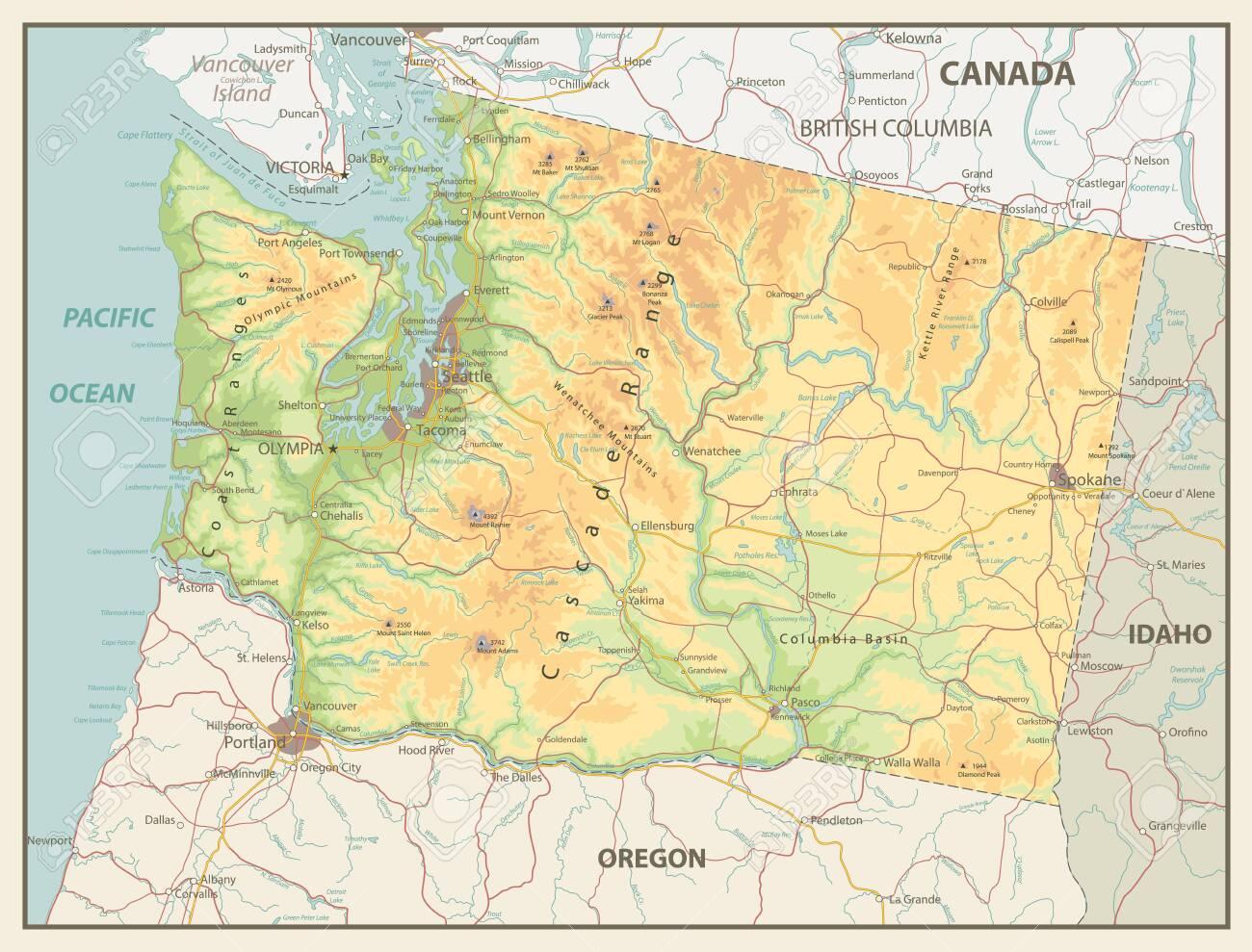 Picture of: Retro Color Map Of Washington State With A Main Relief Rivers Lakes And Highways Ilustraciones Vectoriales Clip Art Vectorizado Libre De Derechos Image 145745728