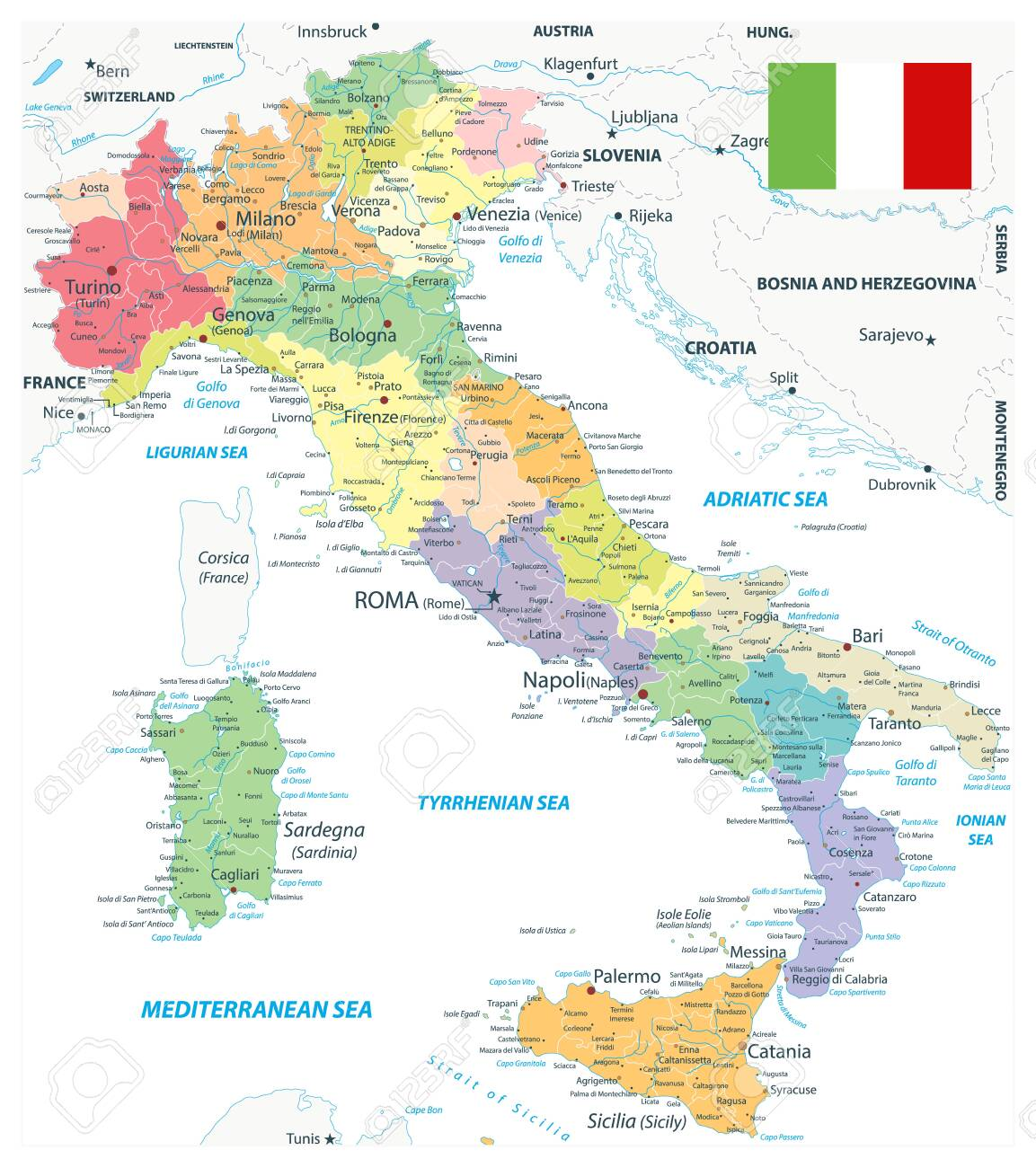 Italy Administrative Divisions Map On White - Highly Detailed Vector Illustration of Italy Map - Image contains layers with administrative divisions map, land names, city names, water objects and it's names. - 145713941