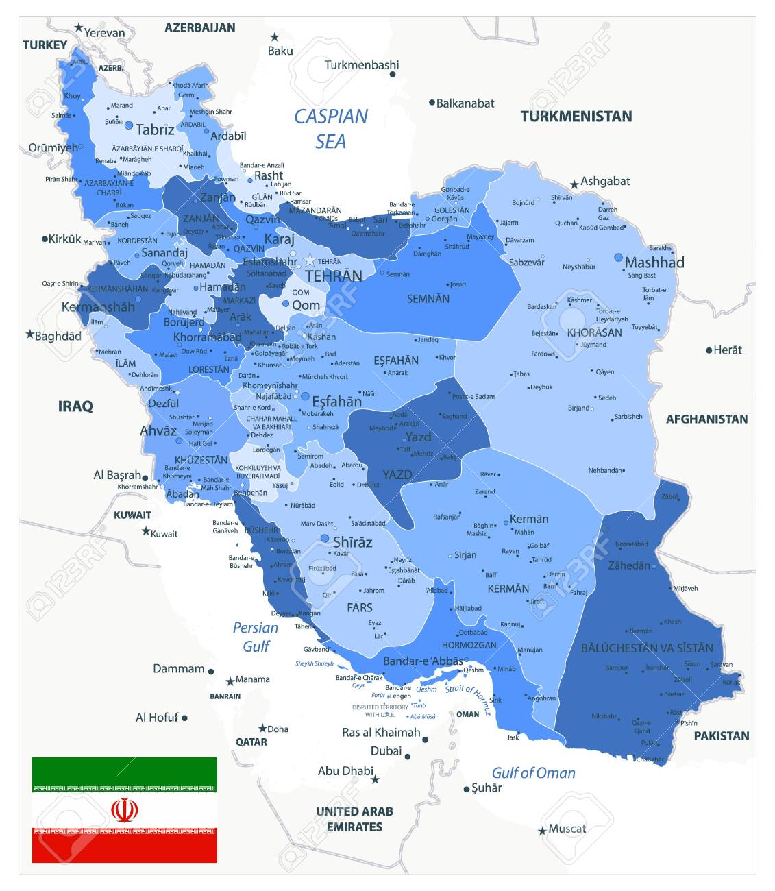 Image of: Political Map Of Iran Blue Colors Image Contains Layers With Royalty Free Cliparts Vectors And Stock Illustration Image 145746238