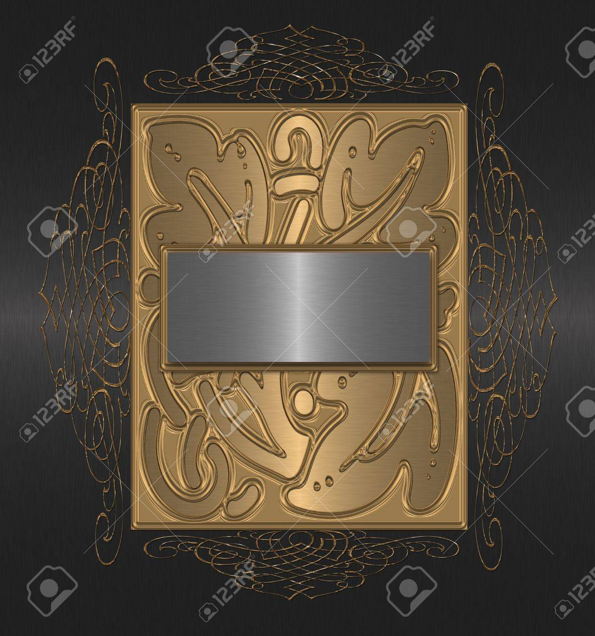 gold silver and black vintage background Stock Photo - 9870548