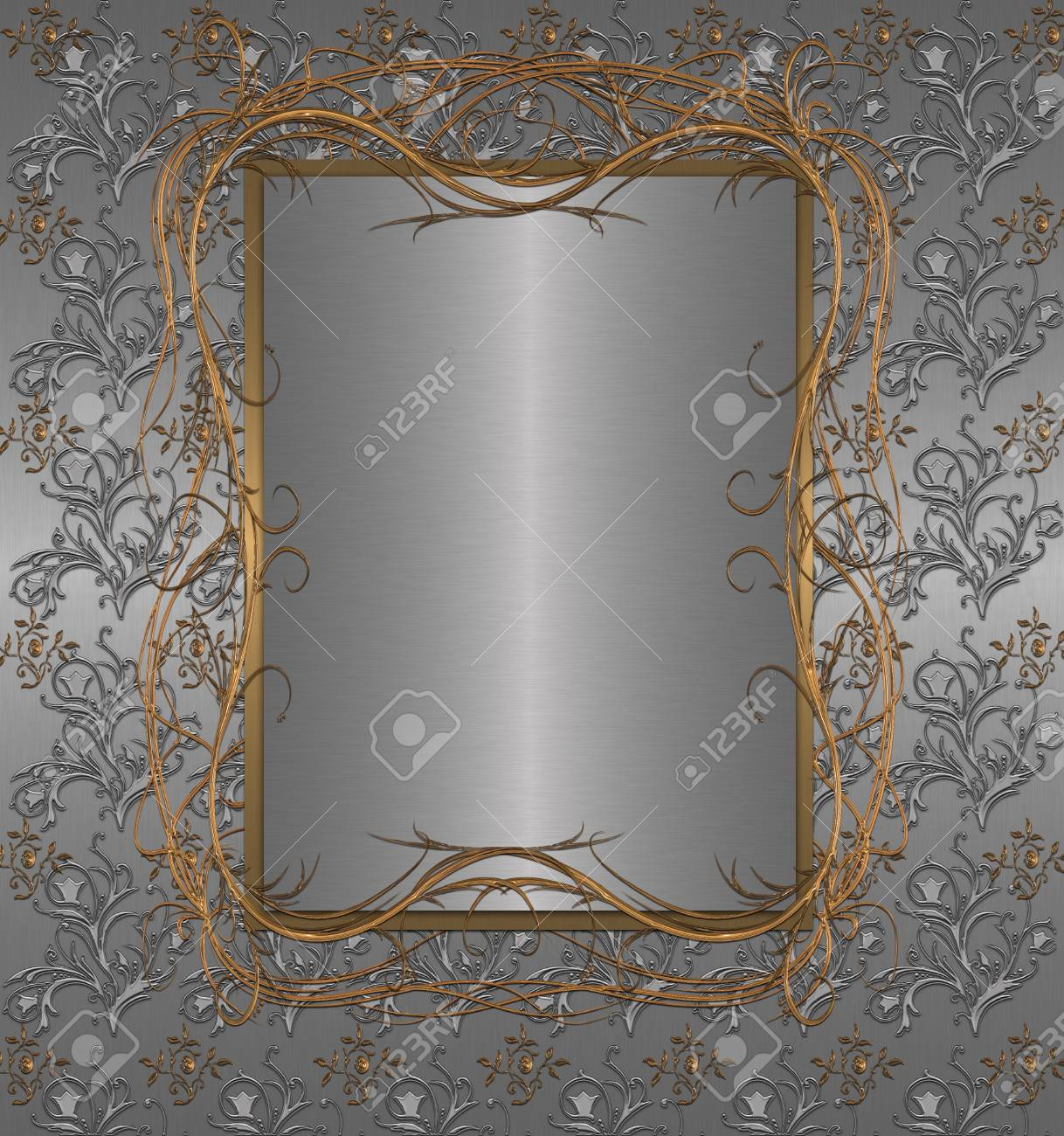 gold with silver floral vintage Stock Photo - 9755878