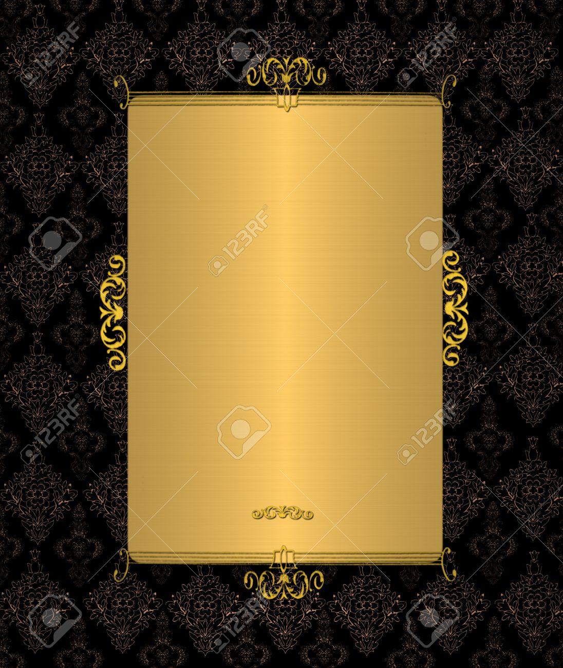 gold template on the black vintage stock photo picture and royalty
