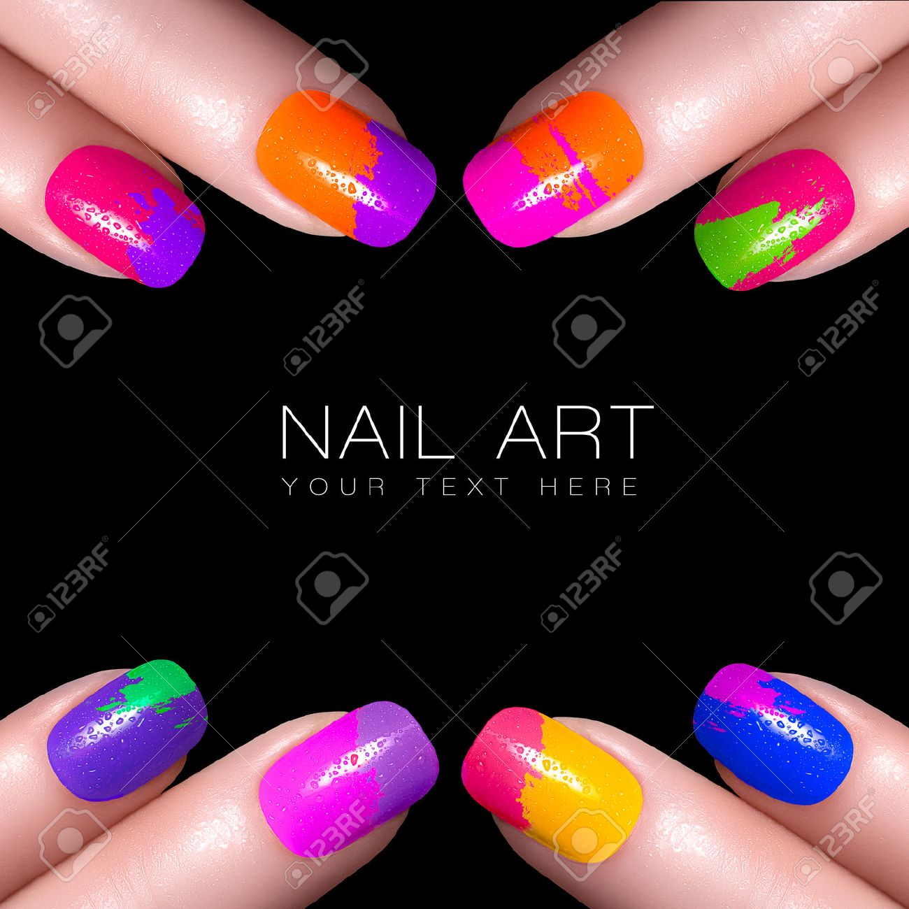 Fingers With Colorful Nail Polish And Drops Of Water. Manicure ...