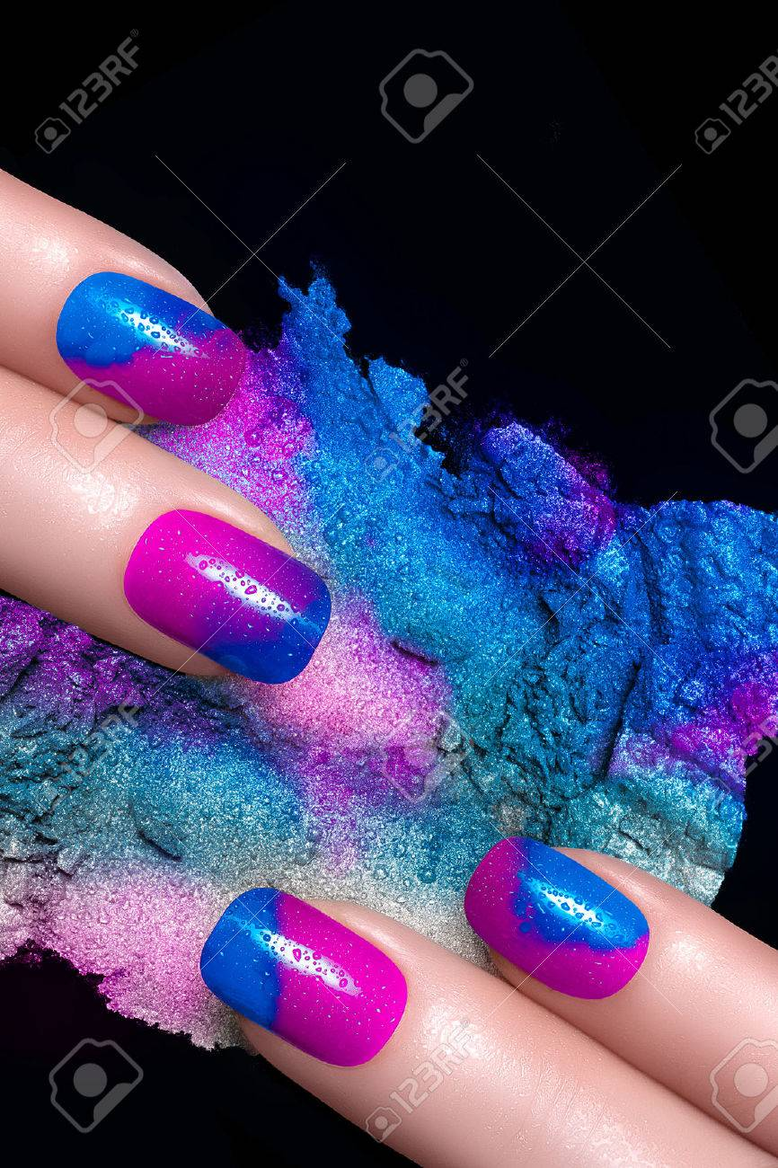 Nail Art. Fingers With Luxury Nails And Crushed Eye Shadow With ...