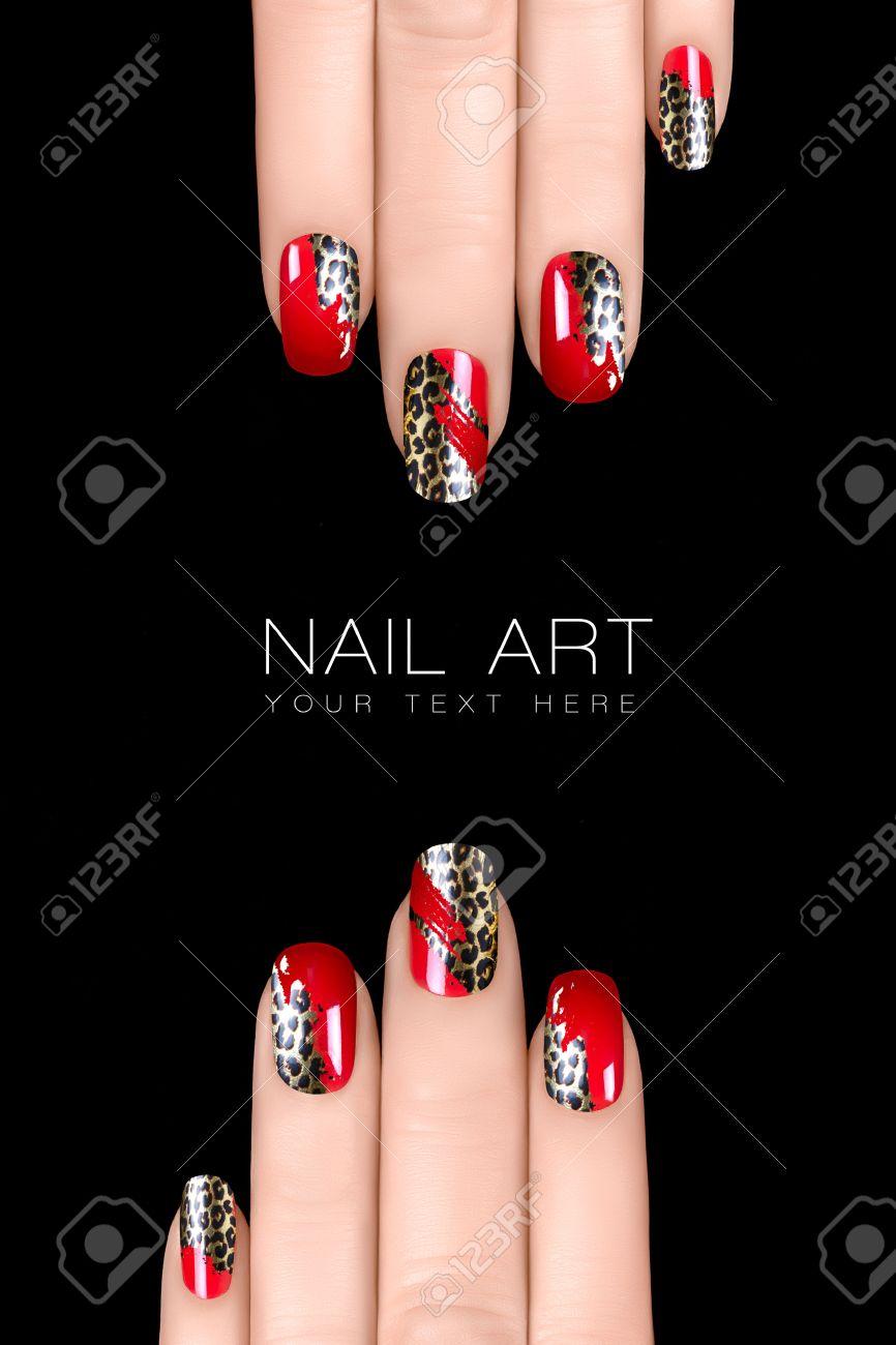 Nagellak Stickers Met Animal Print Professionele Manicure Nail Art