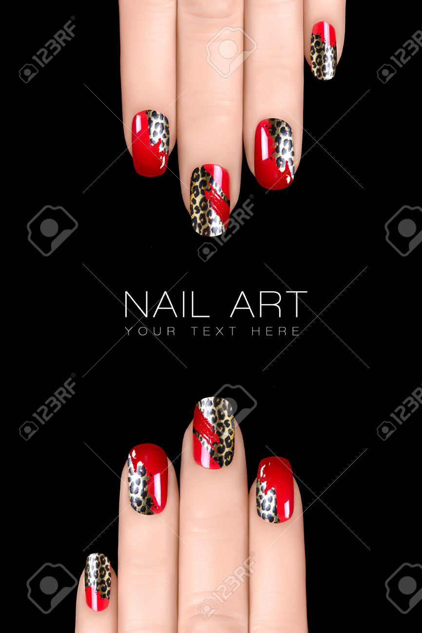 Nail Polish Stickers With Animal Print. Professional Manicure ...