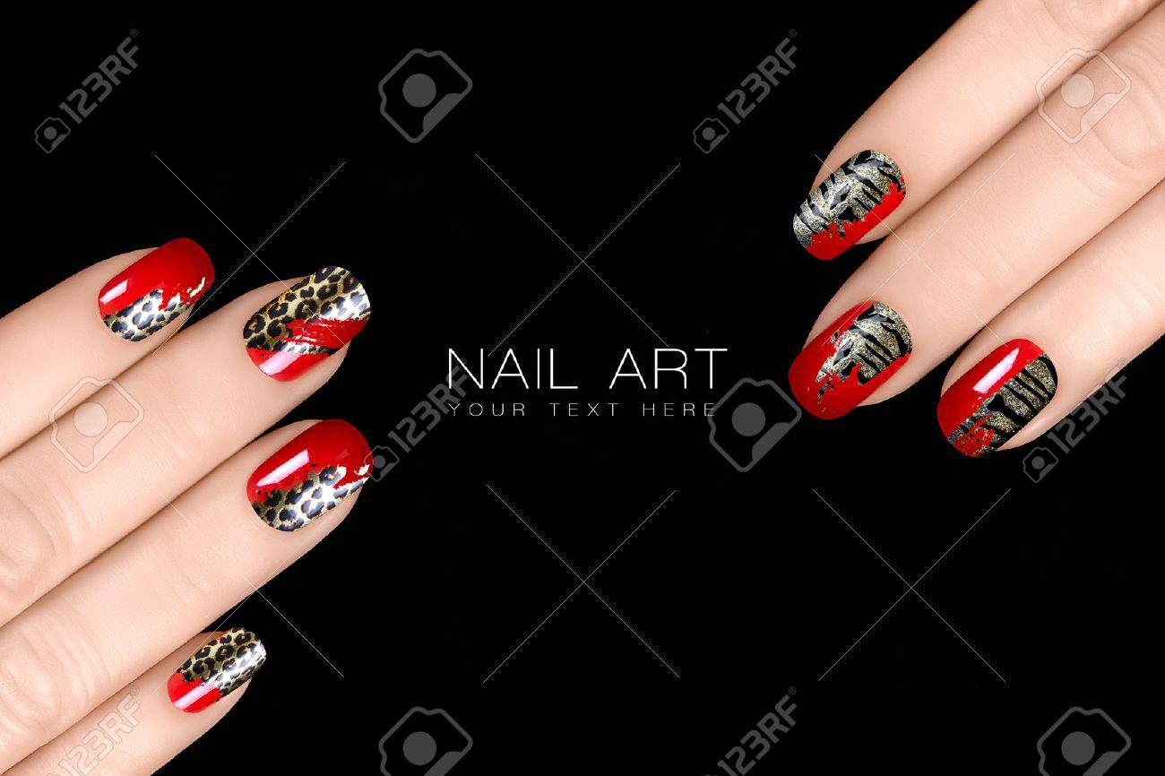 Leopard Y Tiger Nail Art Esmalte De Uñas De Moda Con Pegatinas Animal Print Profesional De La Manicura Con Uñas Y Tatuaje Primer Plano De Manos De