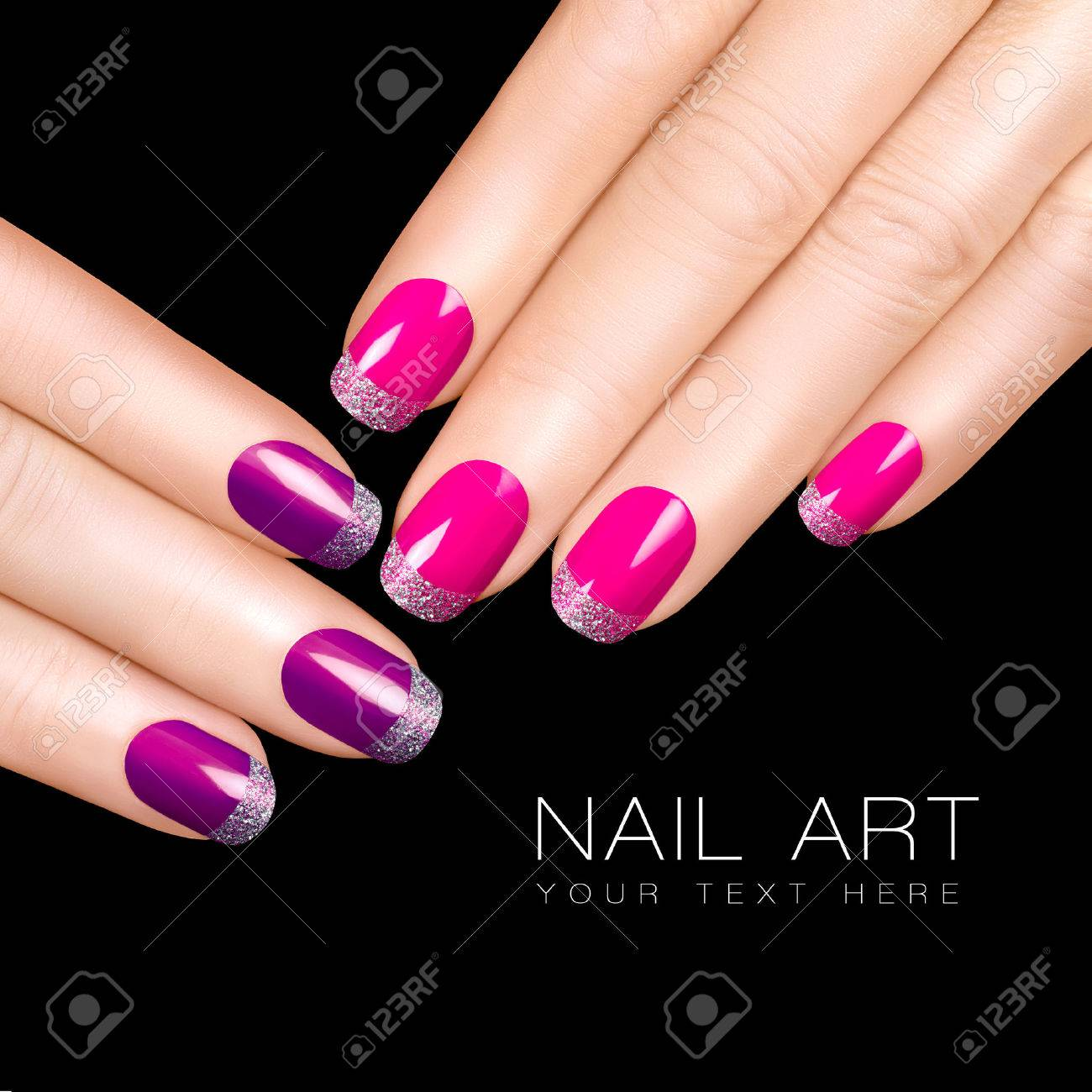Holiday Nail Art Luxury Polish Glitter Stickers In Purple Pink And