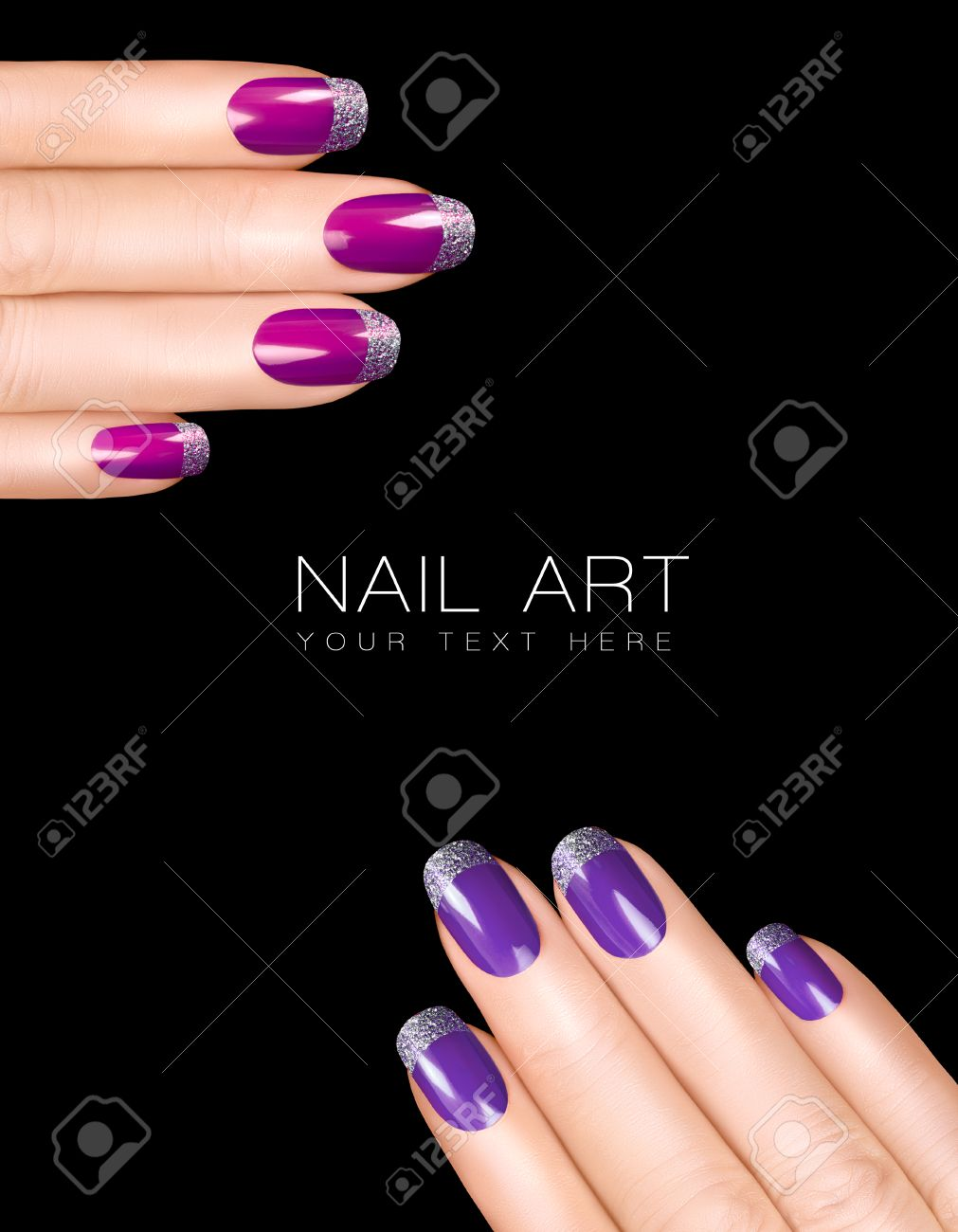 Holiday Nail Art. Luxury Purple Nail Polish With Glitter French ...