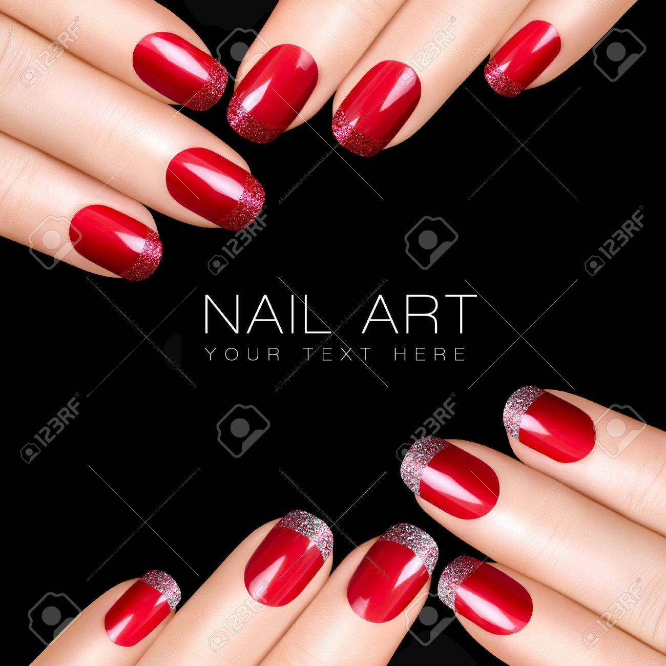 Holiday Nail Art Luxury Polish With Glitter French Manicure And Makeup Concept