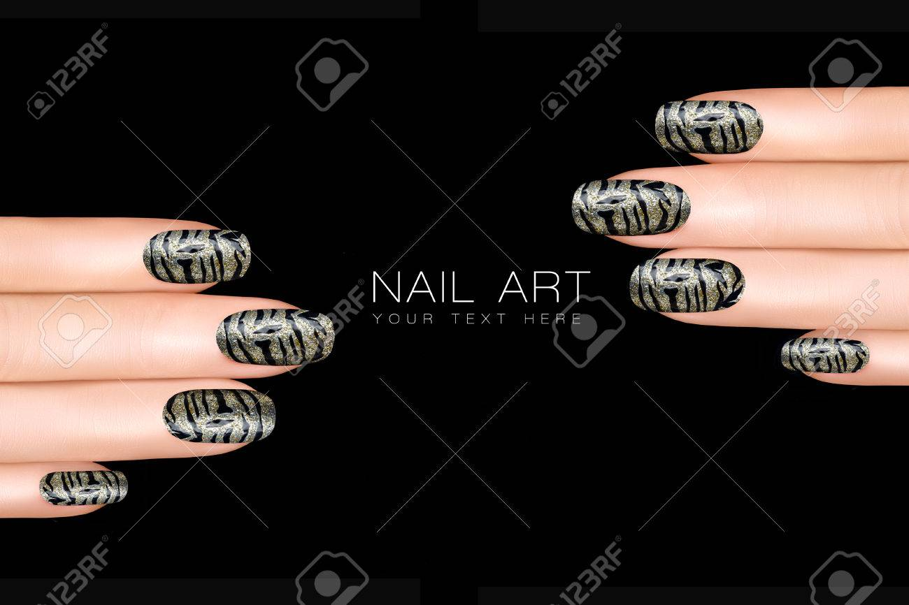 Trend Nail Polish Stickers With Animal Print. Professional Manicure ...