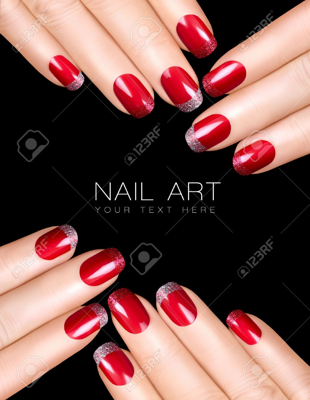 Holiday Nail Art Luxury Nail Polish With Glitter French Manicure