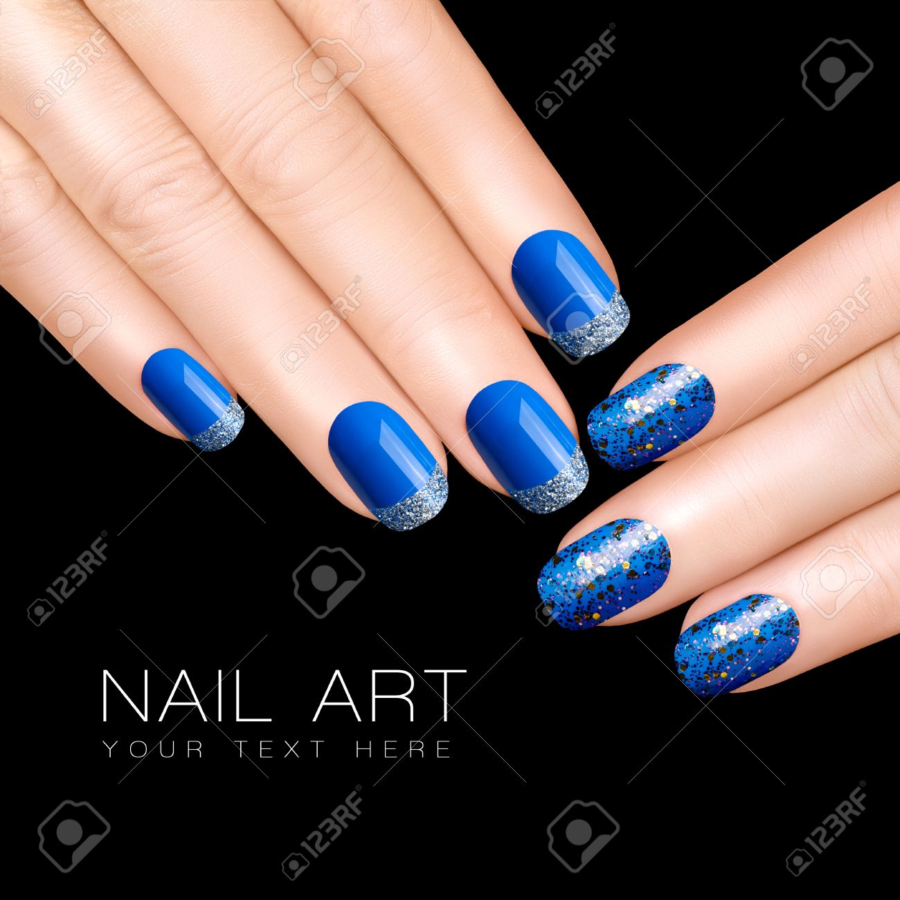 Holiday Nail Art. Luxury Blue Nail Polish. Glitter Nail Stickers ...